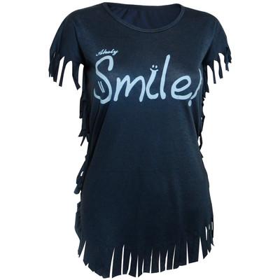 تصویر تی شرت زنانه مدل Smile-Dark Blue