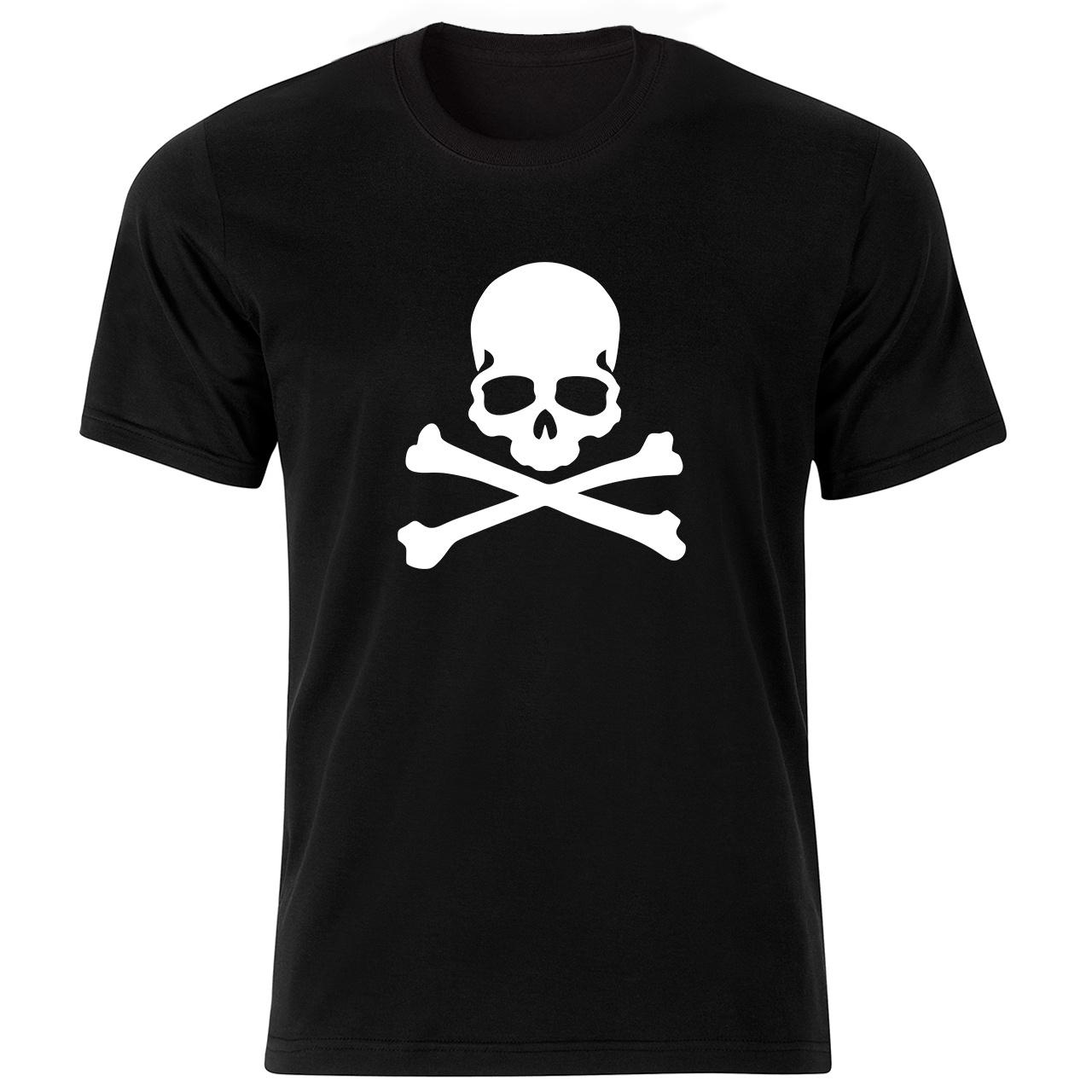 تصویر تی شرت آستین کوتاه مردانه طرح اسکلت کد ۱۸۱۹۵ BW