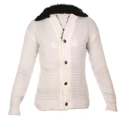 تصویر ژاکت مردانه طرح یقه خزدار سفید  مدل G-120035
