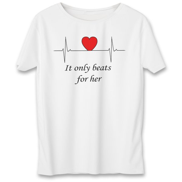 تی شرت مردانه به رسم طرح ضربان قلب کد 375