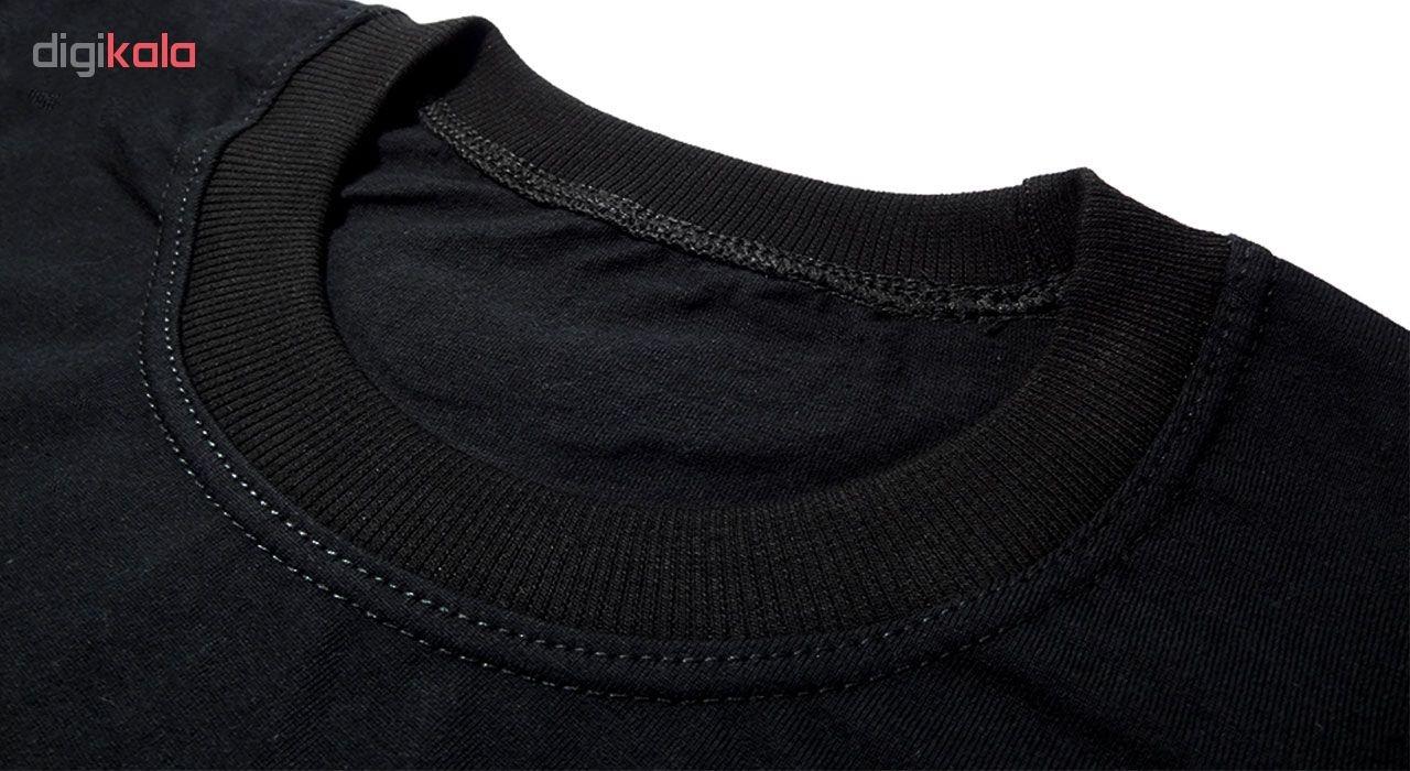 تی شرت آستین کوتاه نه طرح گرگ کد 021 BW