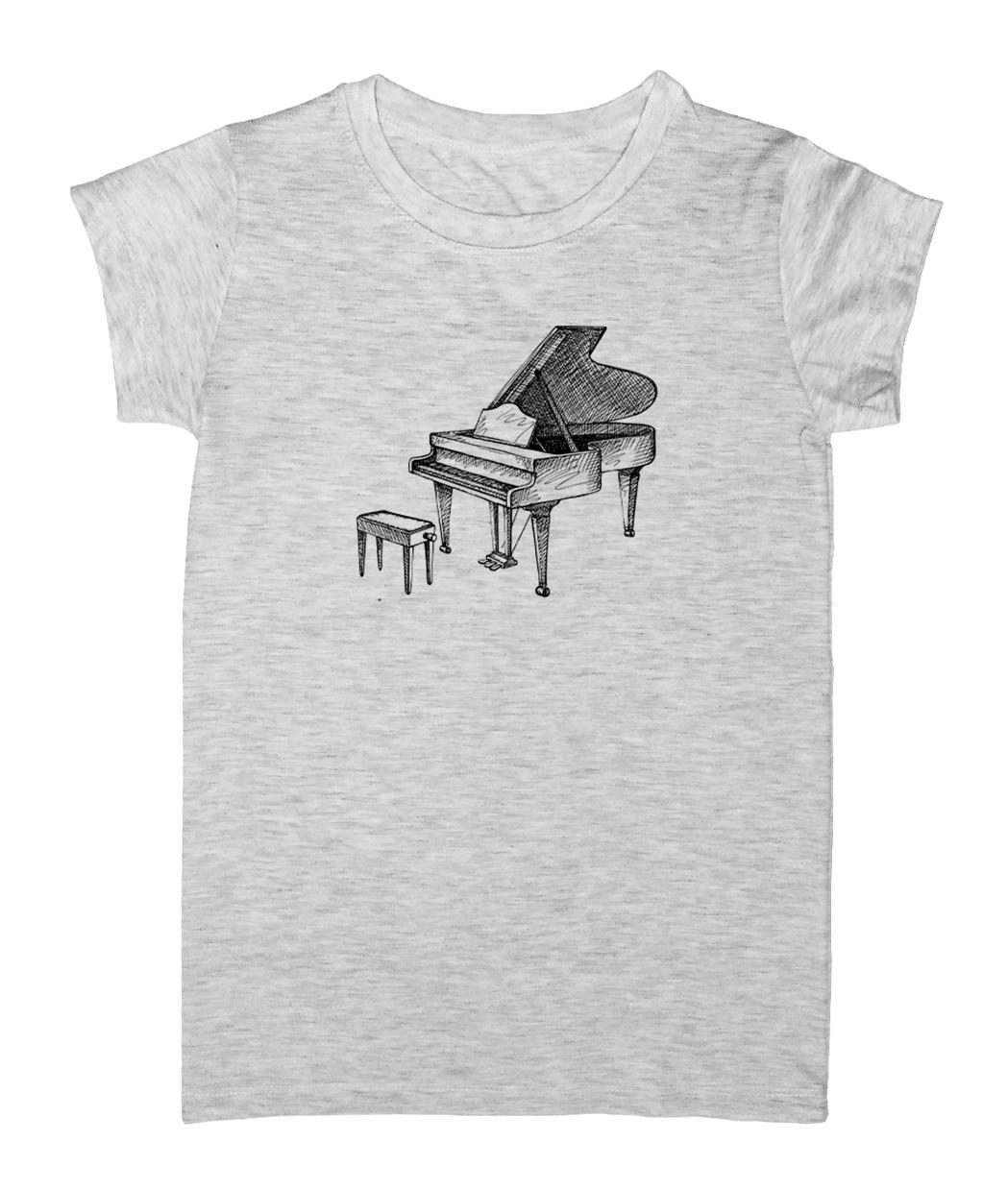 تصویر تیشرت زنانه طرح پیانو مدل EZM20