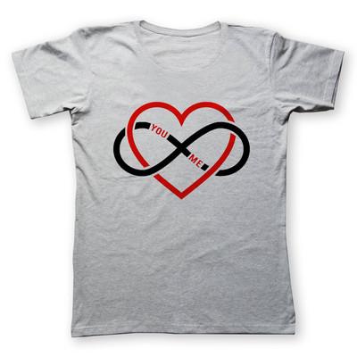 تی شرت زنانه به رسم طرح قلب بی نهایت کد 476