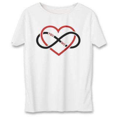 تصویر تی شرت زنانه به رسم قلب بی نهایت کد 576