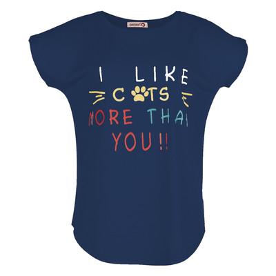تصویر تی شرت زنانه افراتین کد 2514 رنگ سرمه ای