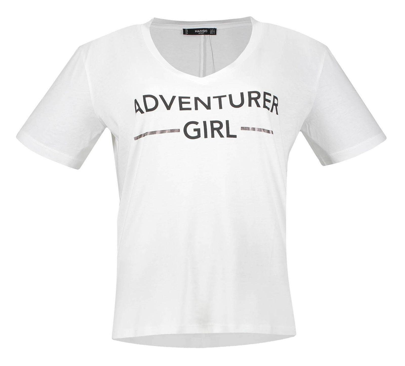 تی شرت نخی آستین کوتاه زنانه - مانگو - سفيد - 2