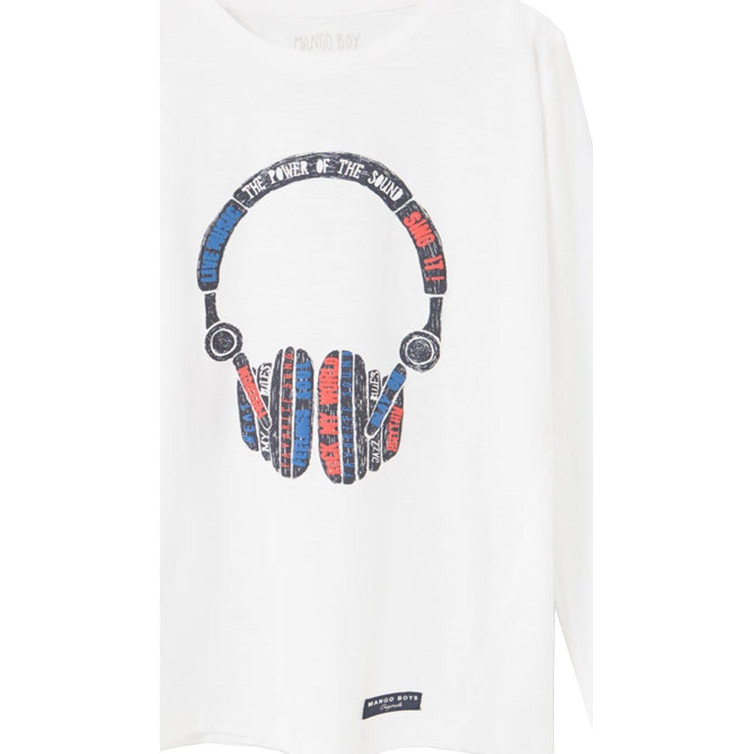تی شرت نخی پسرانه - مانگو - سفيد - 1