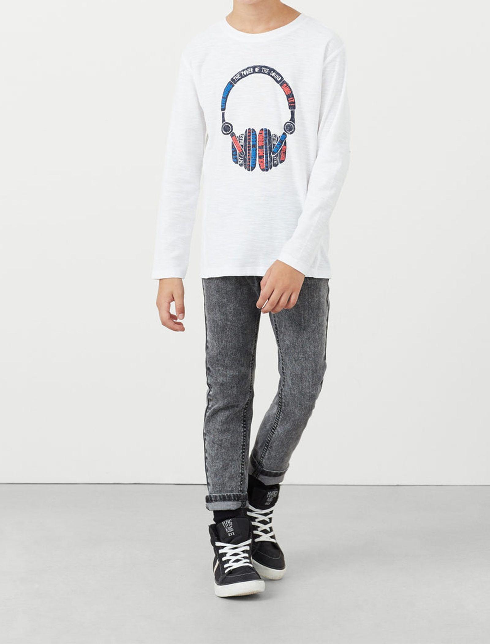 تی شرت نخی پسرانه - مانگو - سفيد - 5