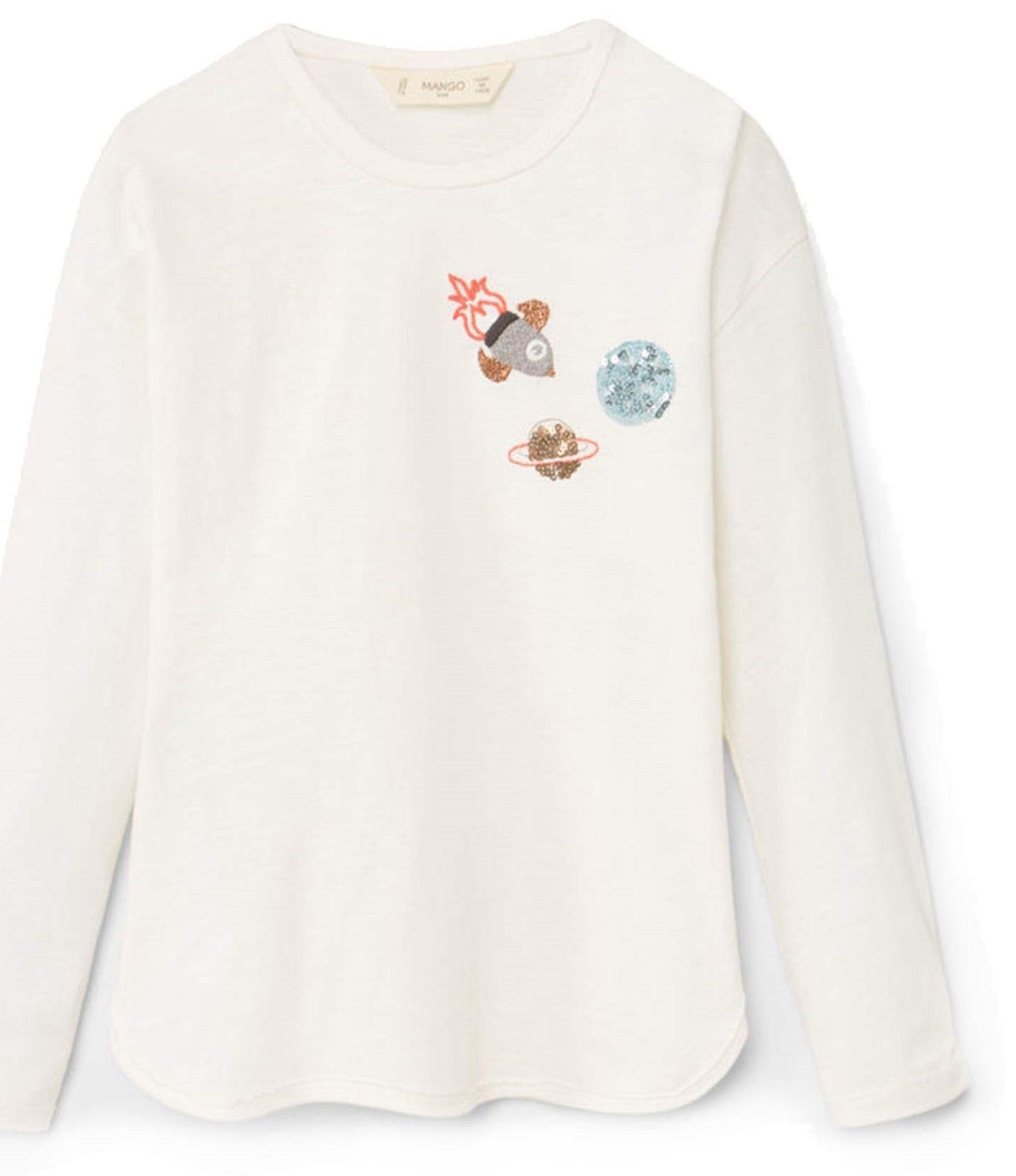 تی شرت نخی دخترانه - مانگو - سفيد وانيلي - 1