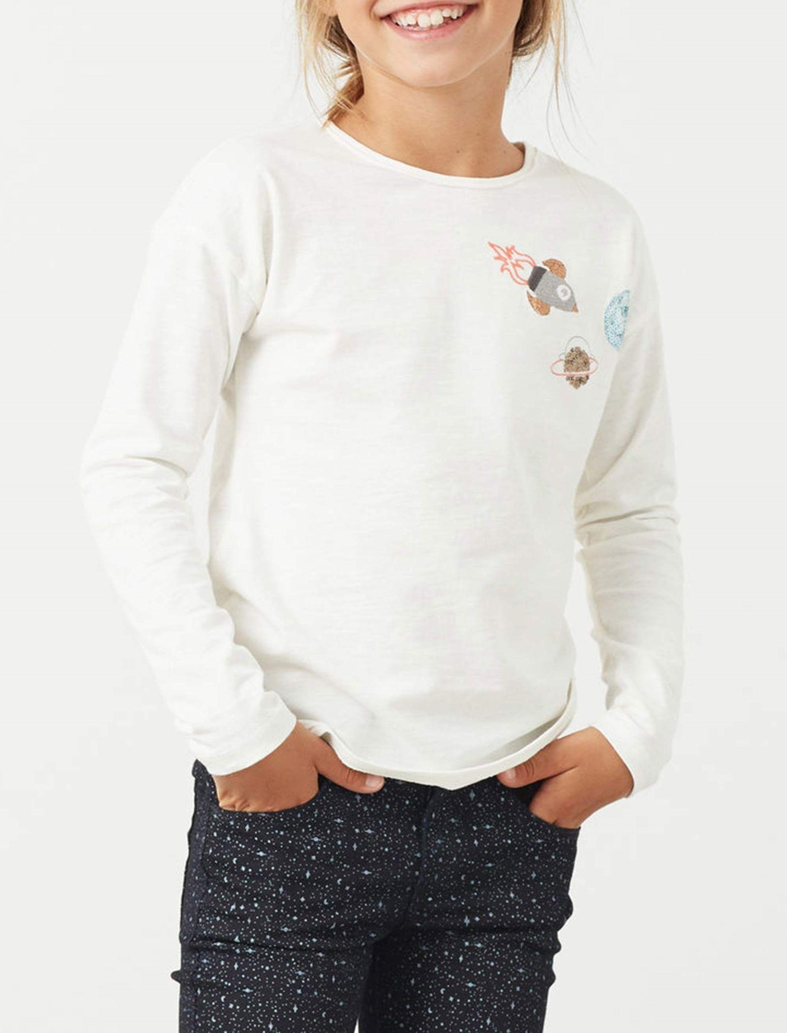 تی شرت نخی دخترانه - مانگو - سفيد وانيلي - 3