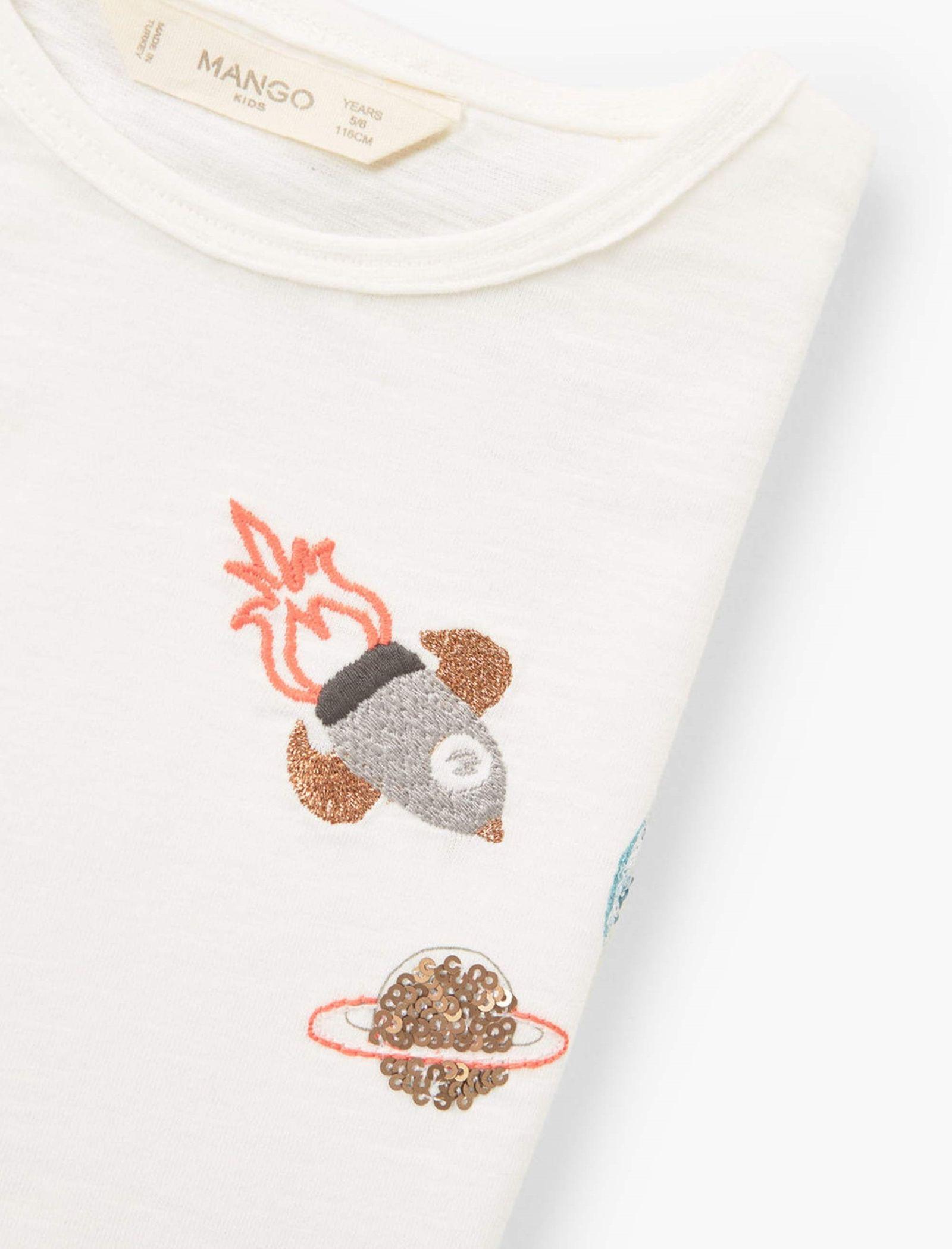 تی شرت نخی دخترانه - مانگو - سفيد وانيلي - 4