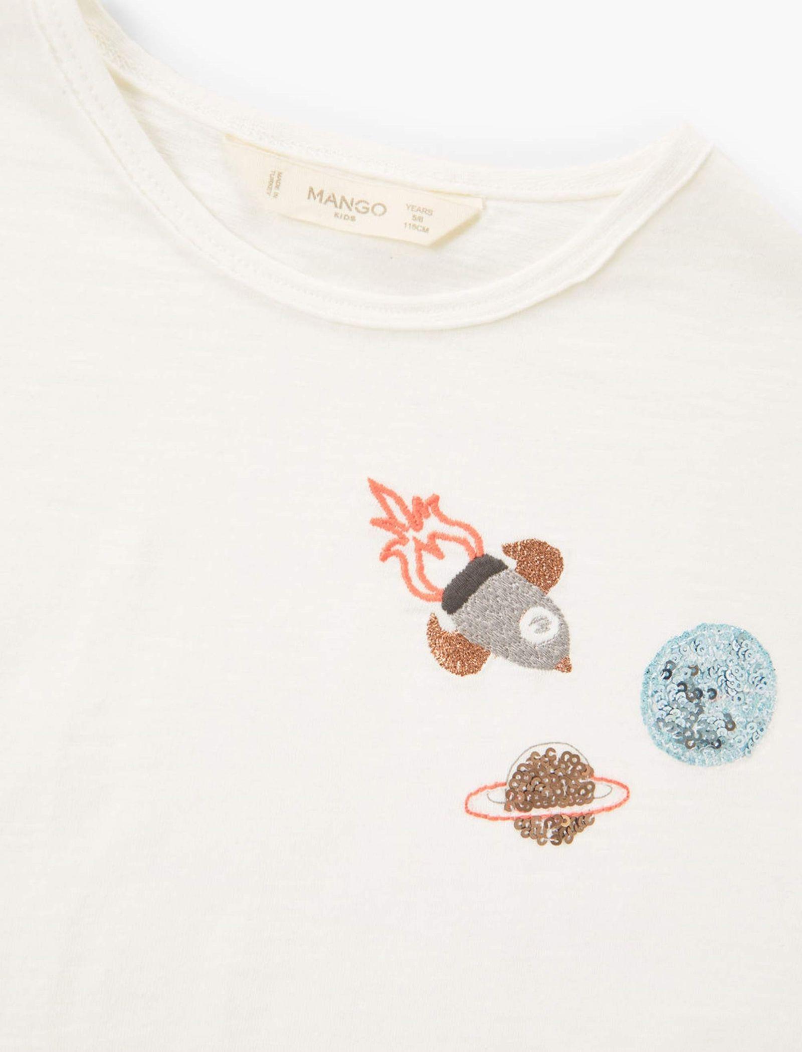 تی شرت نخی دخترانه - مانگو - سفيد وانيلي - 5