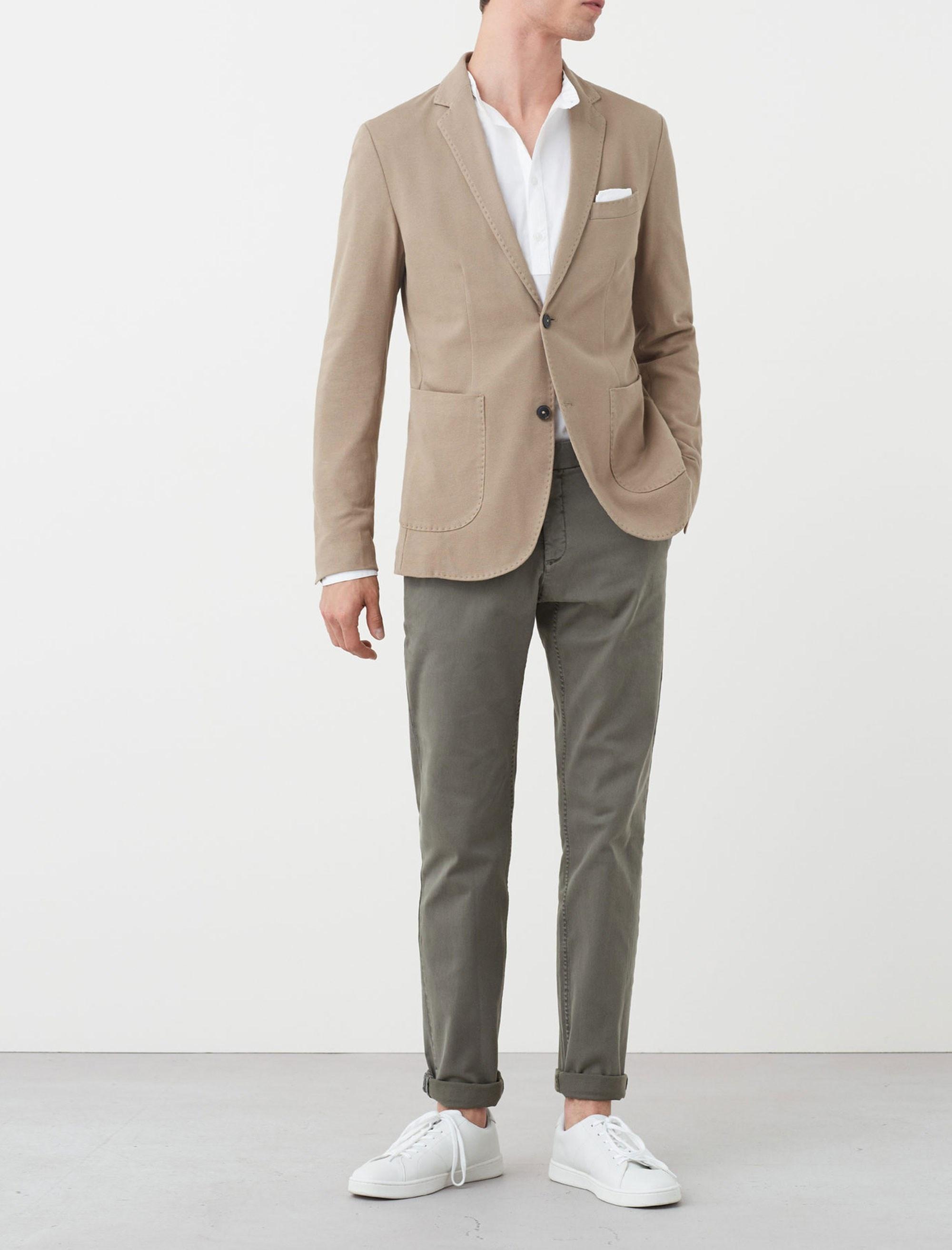 کت تک نخی مردانه - مانگو - بژ روشن - 2