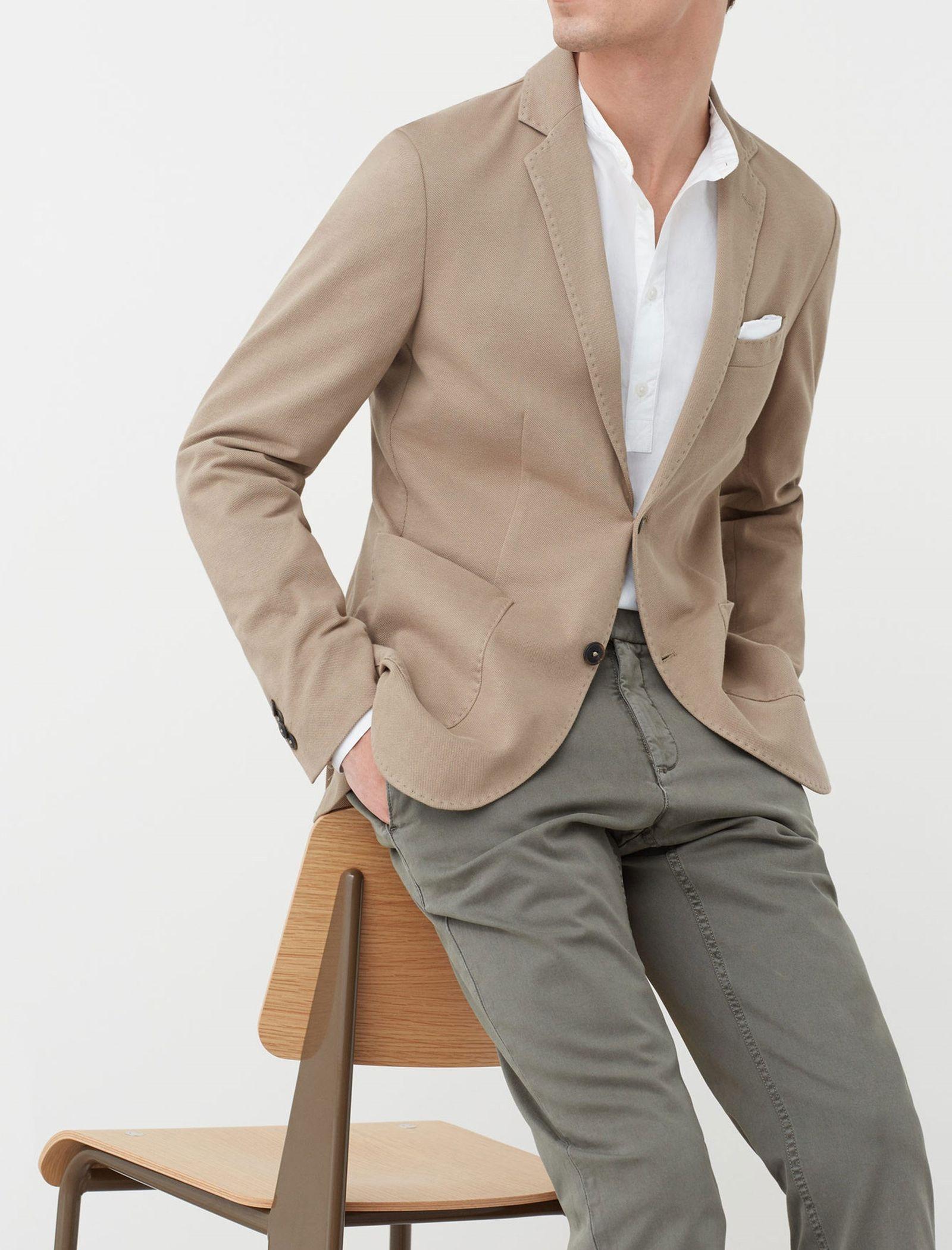 کت تک نخی مردانه - مانگو - بژ روشن - 4