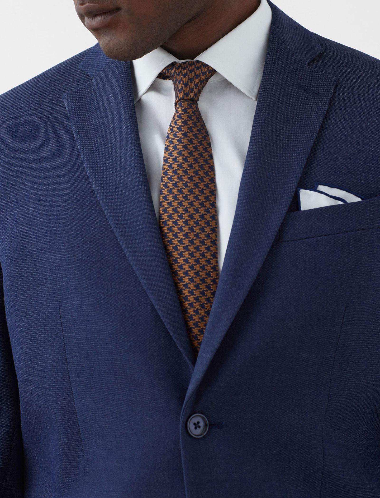 کت تک رسمی مردانه - مانگو - آبي - 5