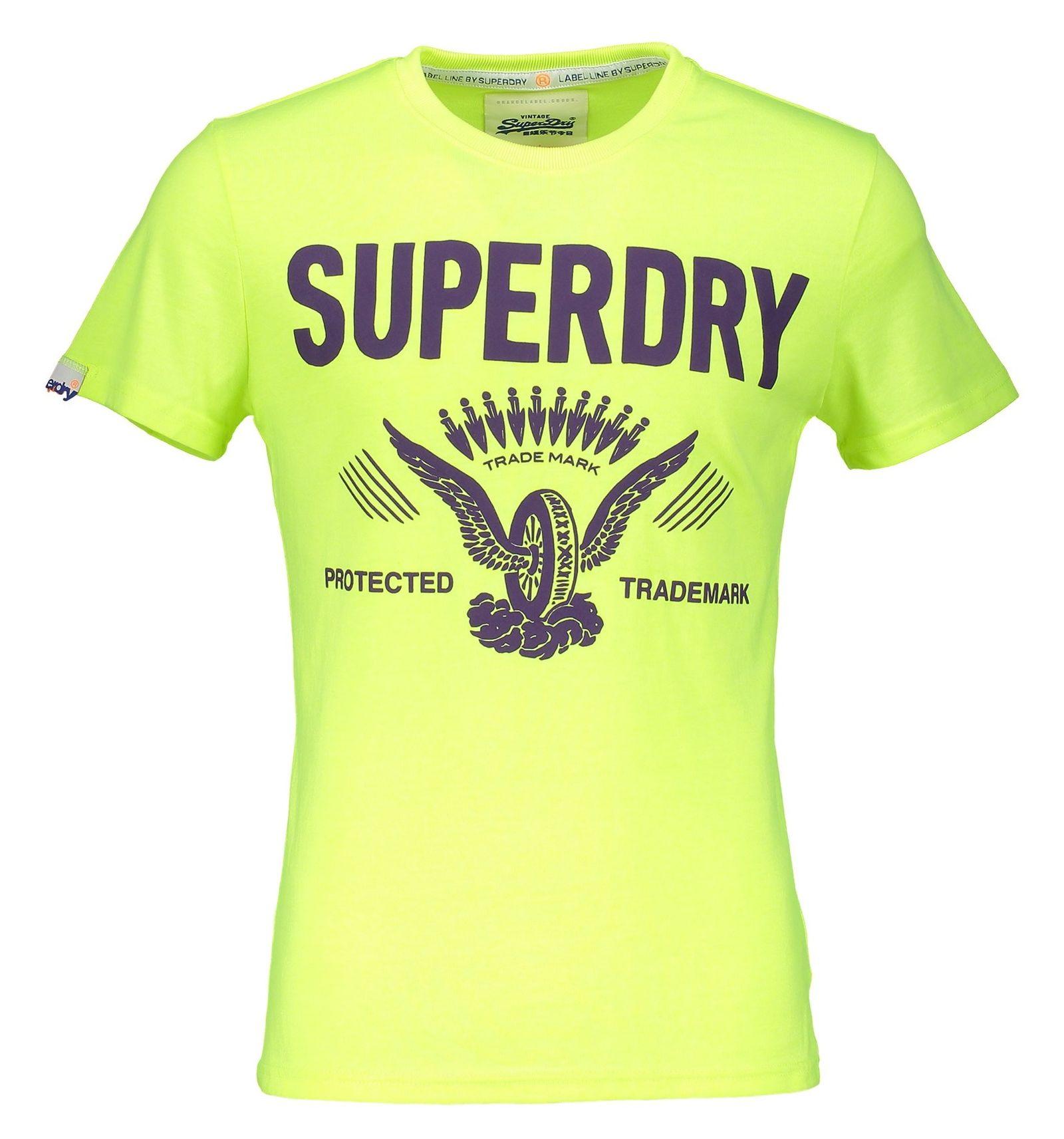 تی شرت یقه گرد مردانه - سوپردرای - زرد فلورسنت - 1