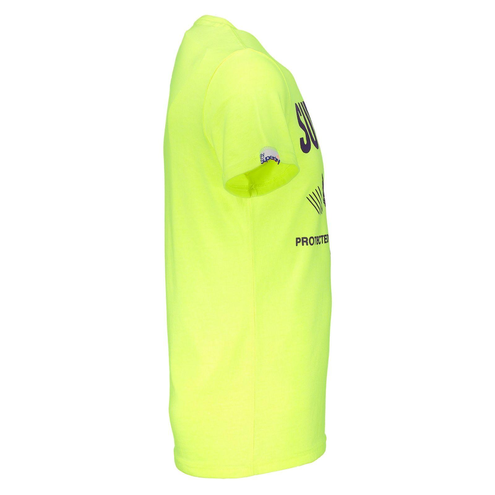 تی شرت یقه گرد مردانه - سوپردرای - زرد فلورسنت - 3