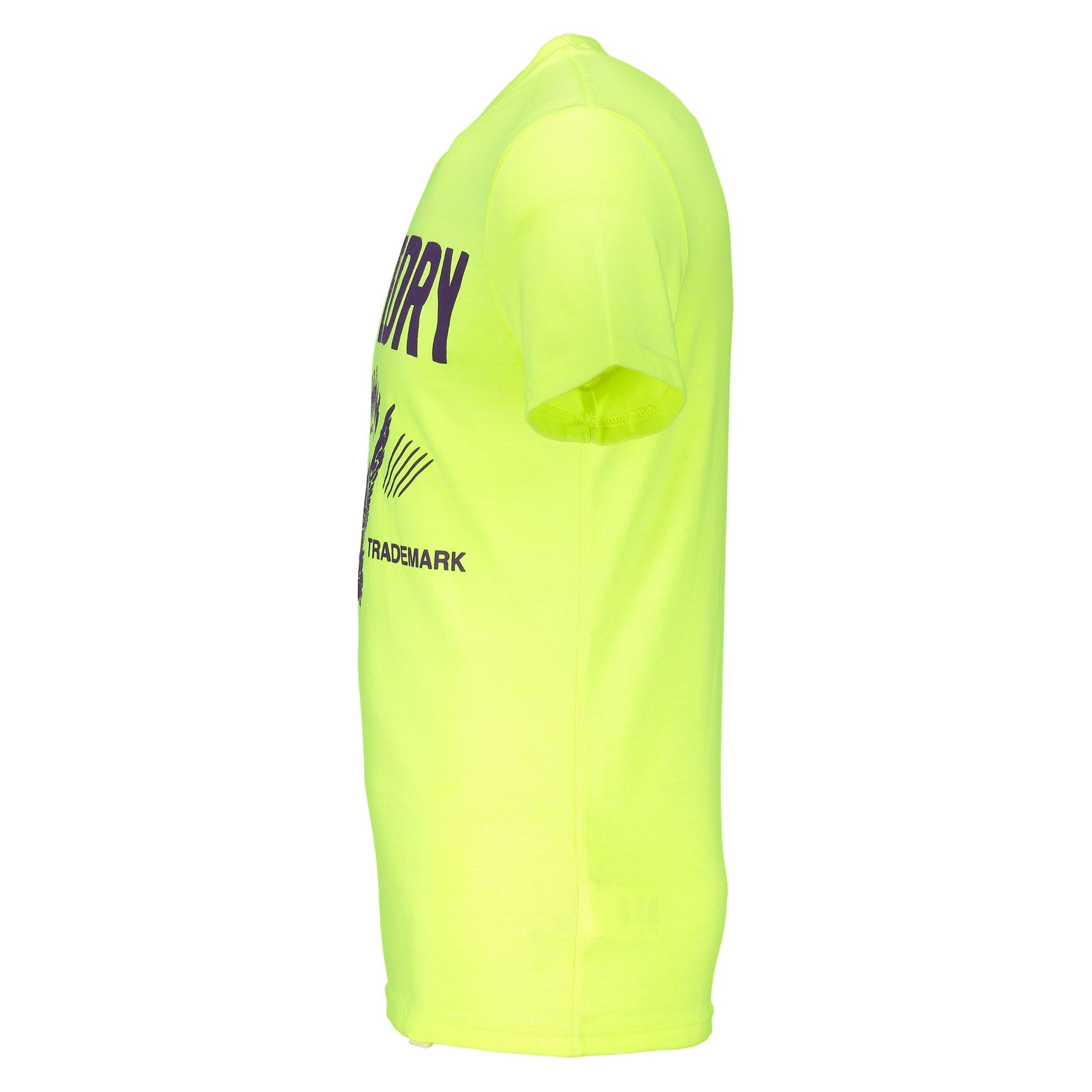 تی شرت یقه گرد مردانه - سوپردرای - زرد فلورسنت - 4