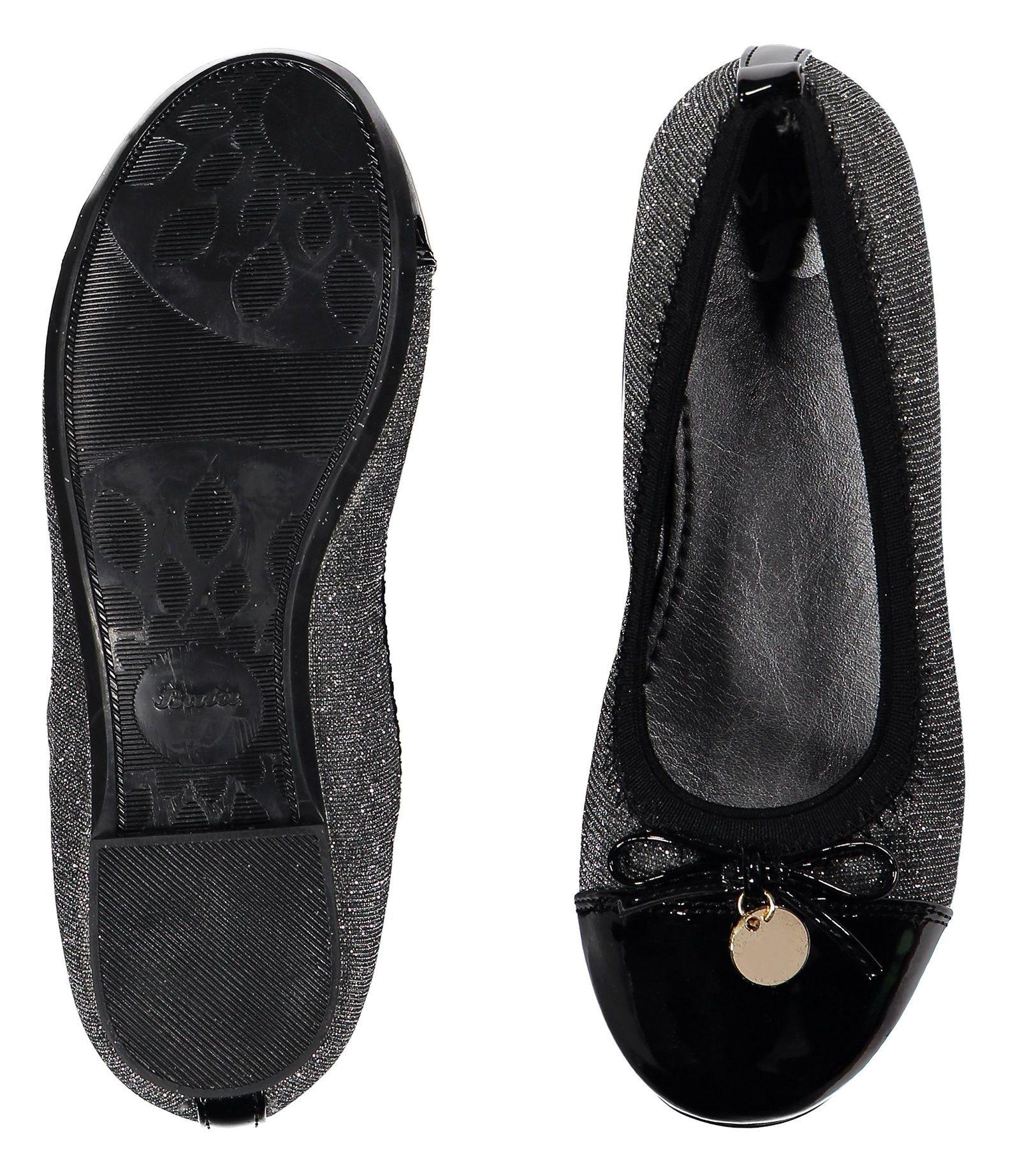 کفش تخت عروسکی دخترانه - باتا - نقره اي - 2