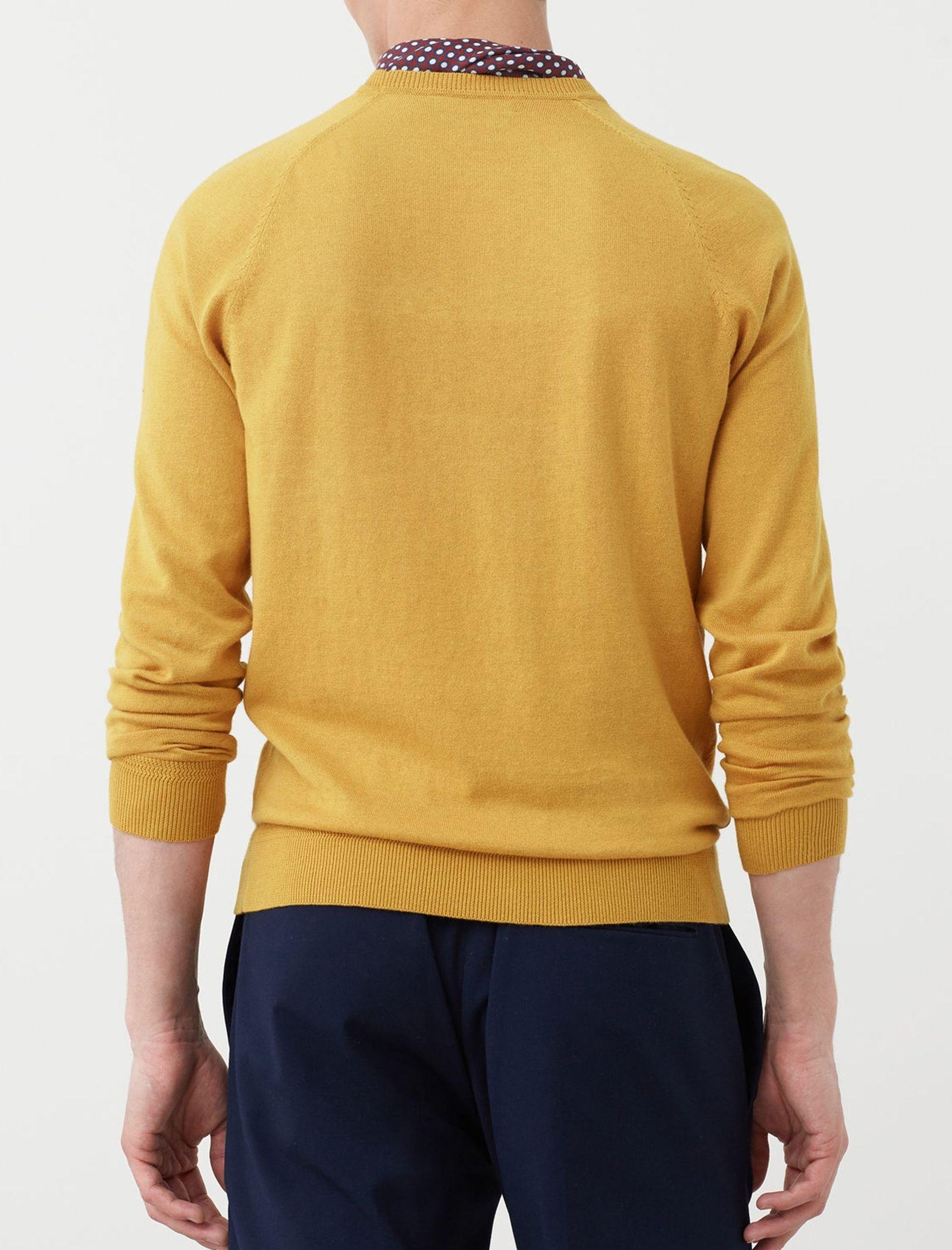 پلیور نخی یقه گرد مردانه - مانگو - زرد - 6
