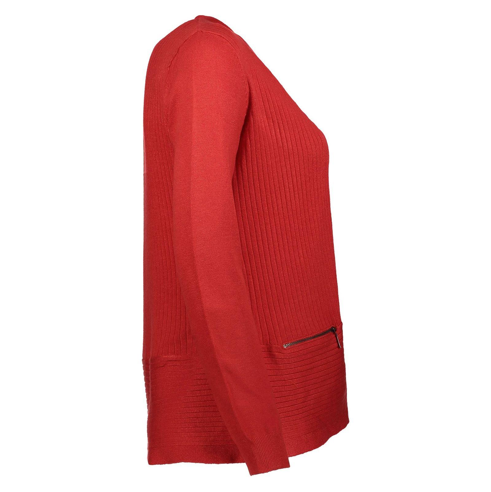 ژاکت ویسکوز جلو باز زنانه - کالکشن - قرمز - 3