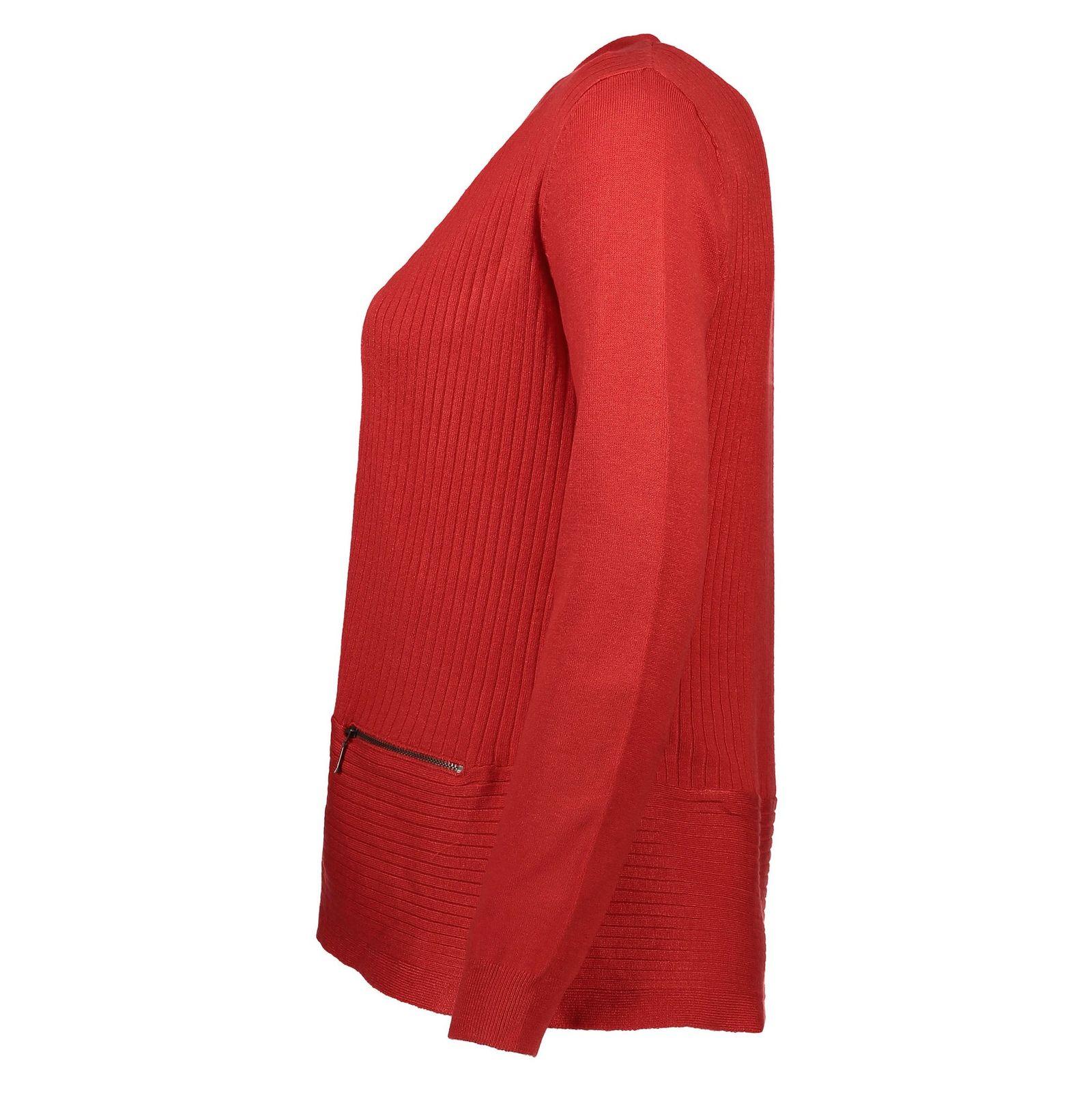 ژاکت ویسکوز جلو باز زنانه - کالکشن - قرمز - 4