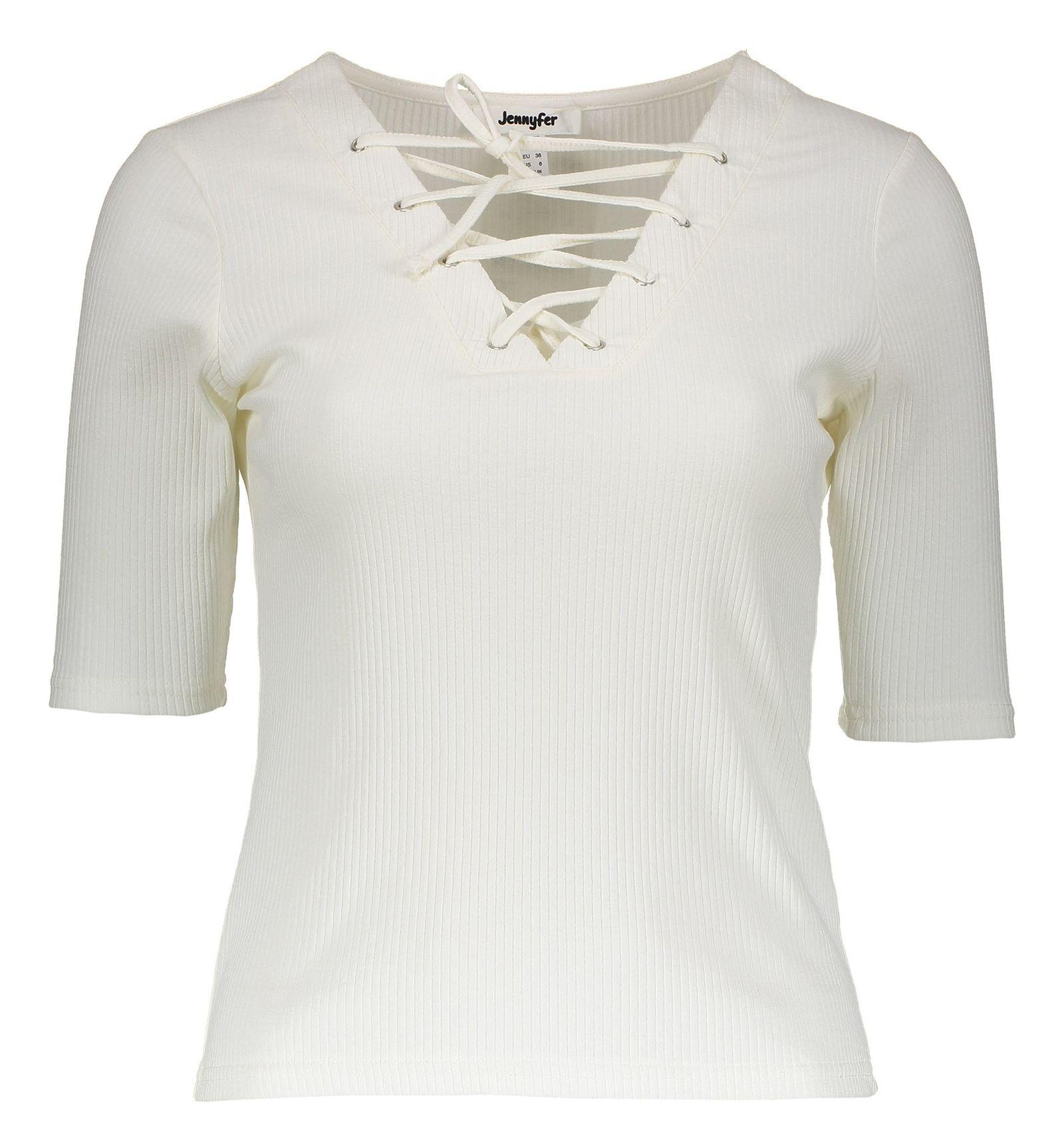تی شرت نخی زنانه - جنیفر - سفيد - 1