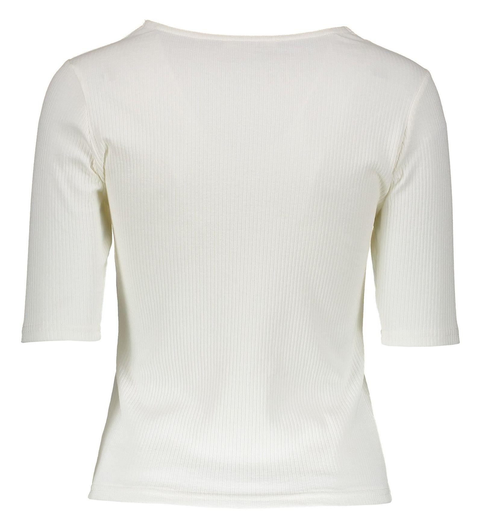 تی شرت نخی زنانه - جنیفر - سفيد - 2