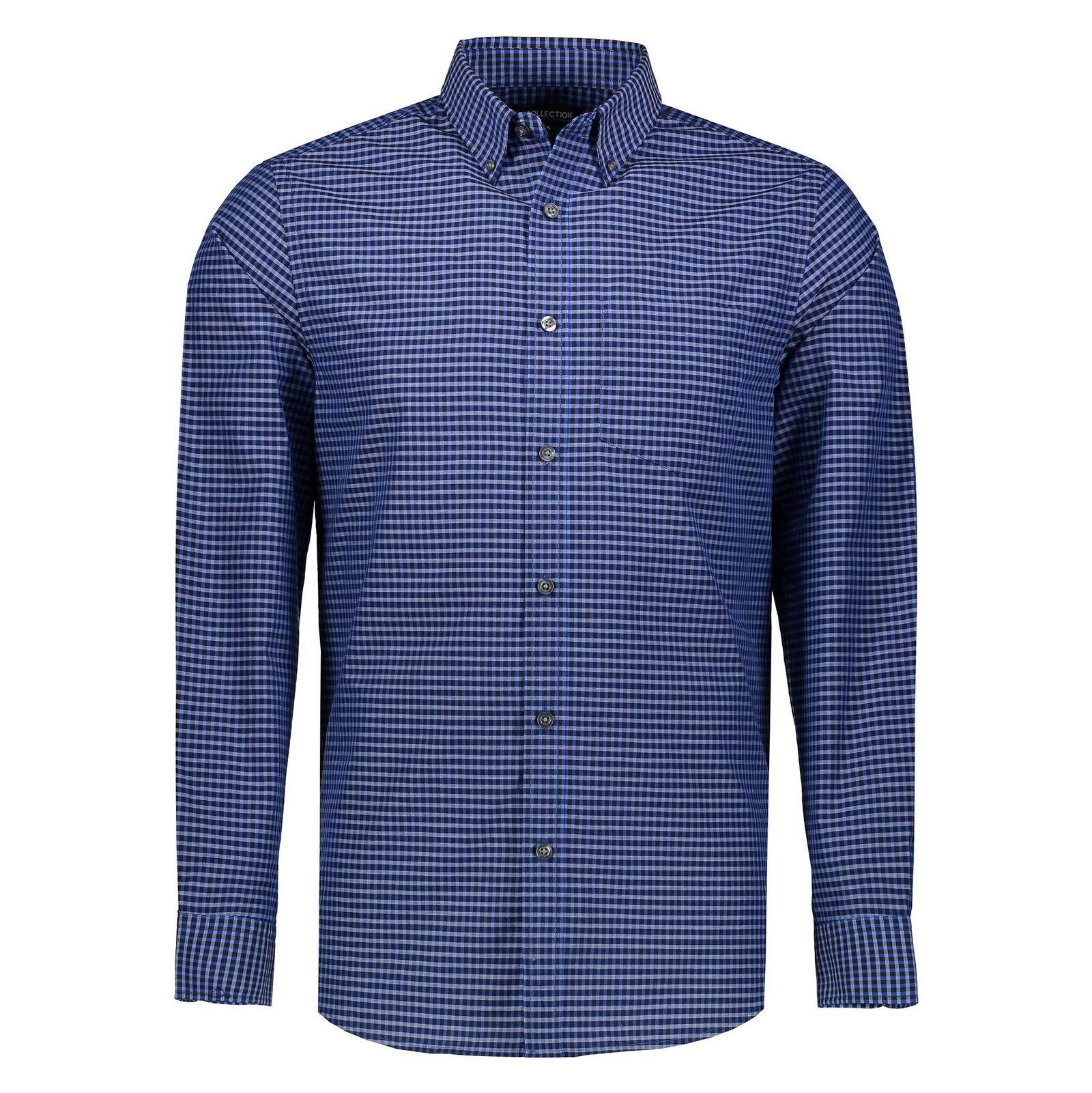 پیراهن نخی مردانه - کالکشن - آبي - 6