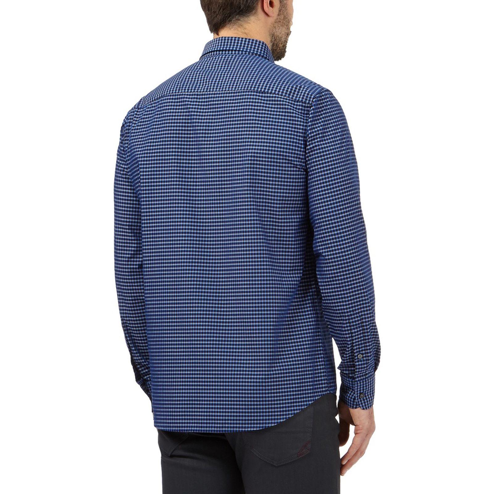 پیراهن نخی مردانه - کالکشن - آبي - 4