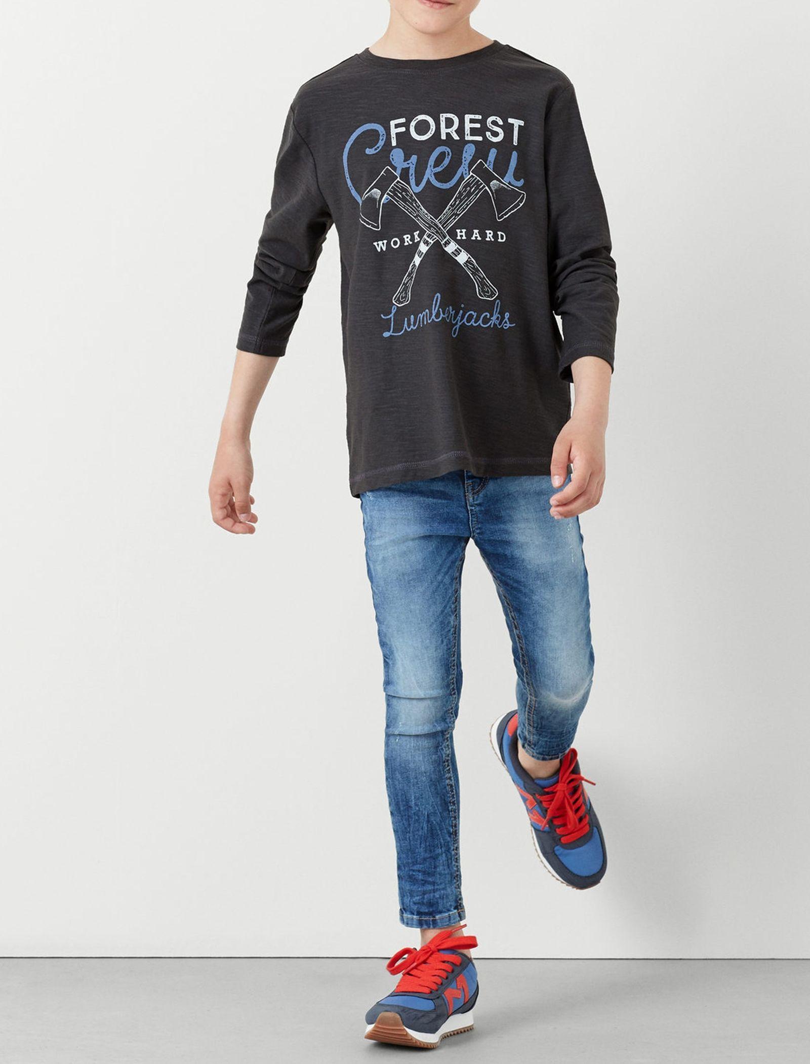 تی شرت نخی پسرانه - مانگو - طوسي تيره - 4