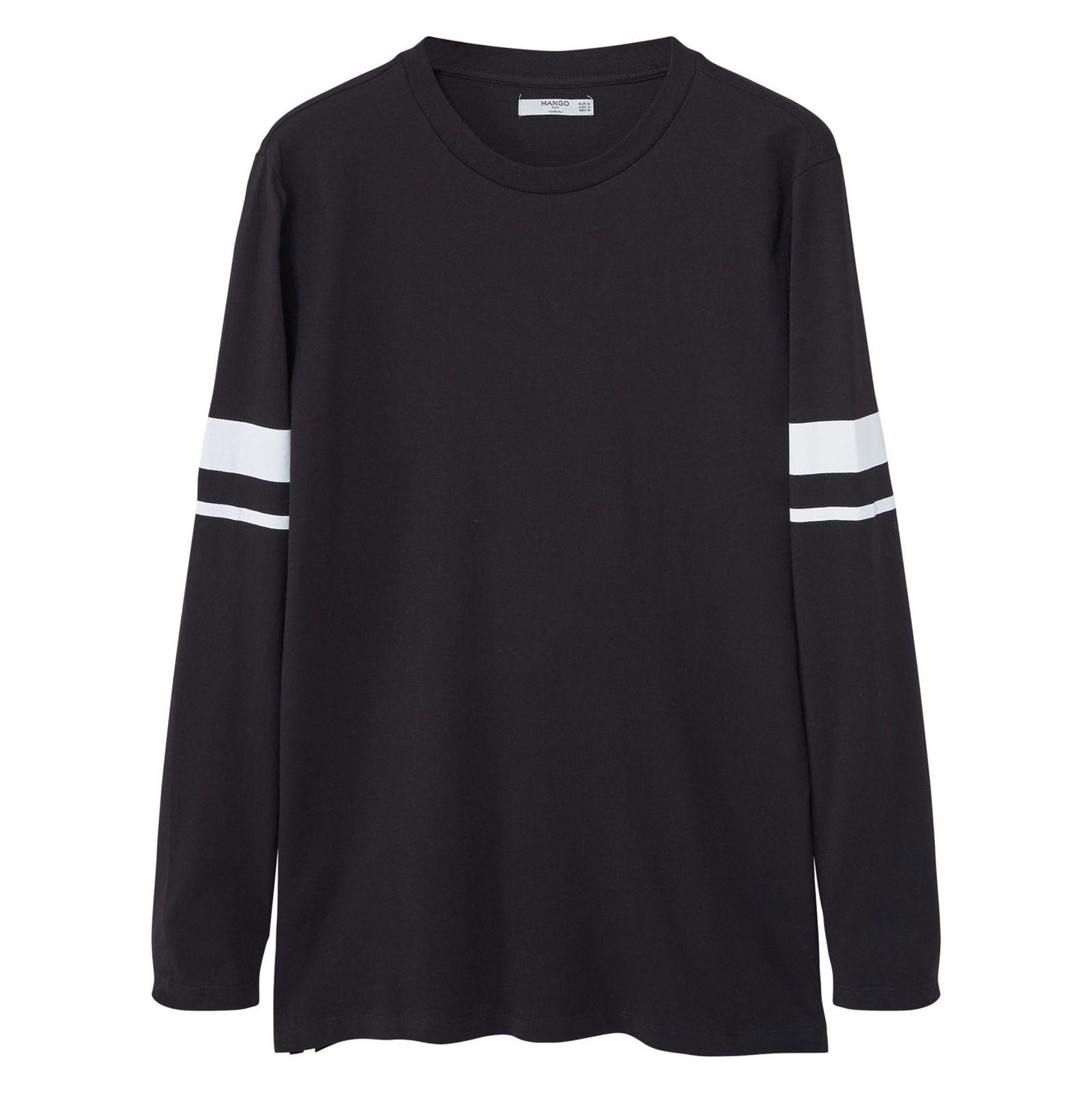 تی شرت نخی مردانه - مانگو - مشکي - 1