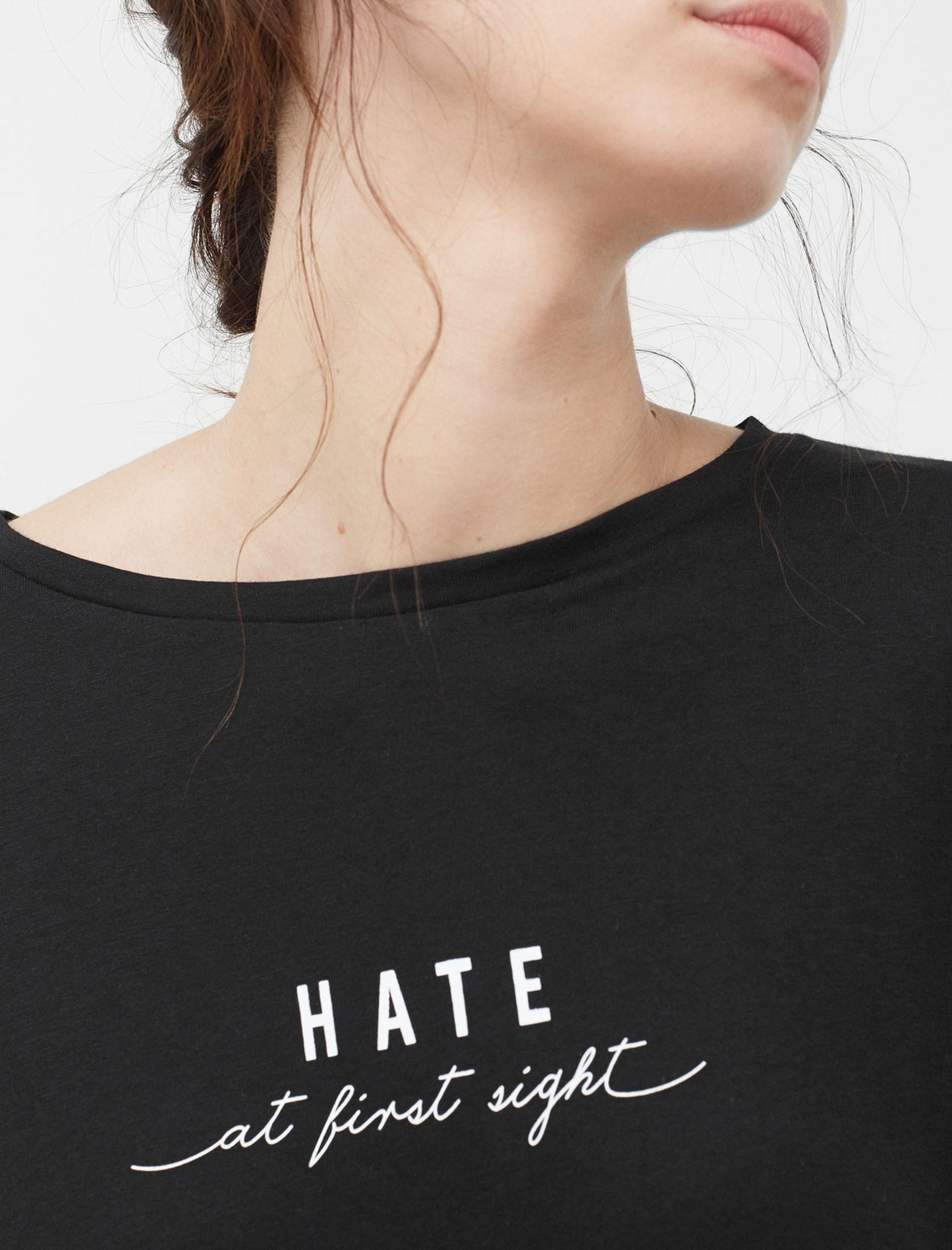 تی شرت یقه گرد زنانه - مانگو - مشکي - 1