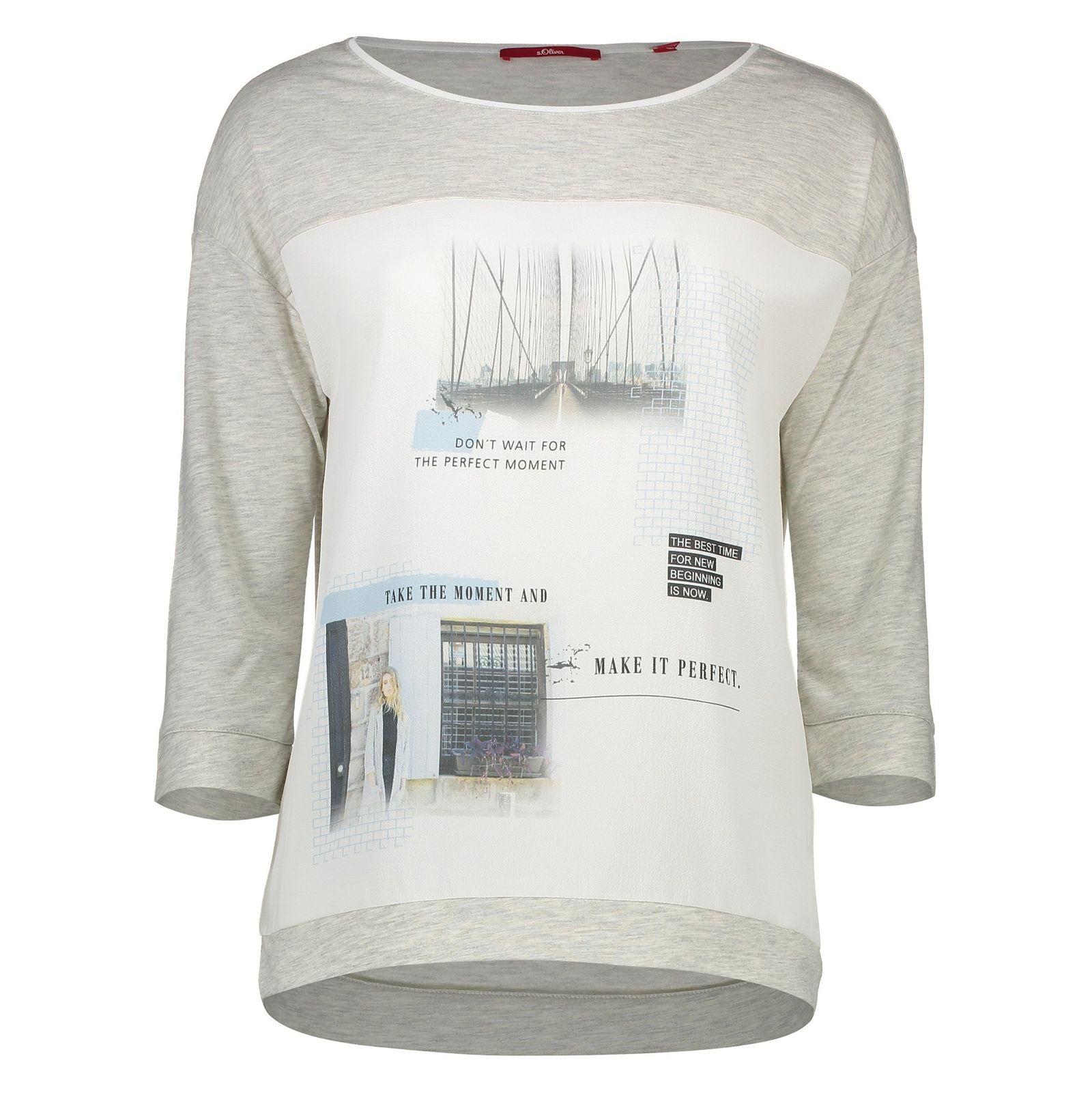 تی شرت یقه گرد زنانه - اس.اولیور - طوسي روشن - 1