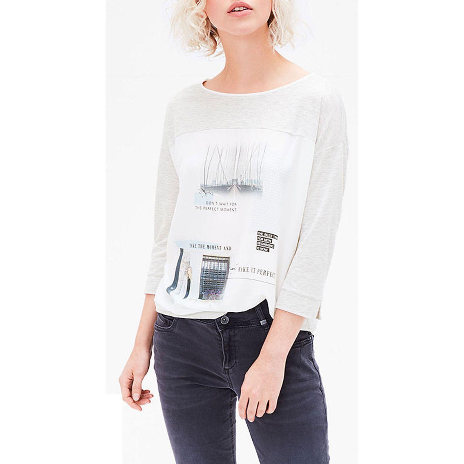 تی شرت یقه گرد زنانه - اس.اولیور - طوسي روشن - 4