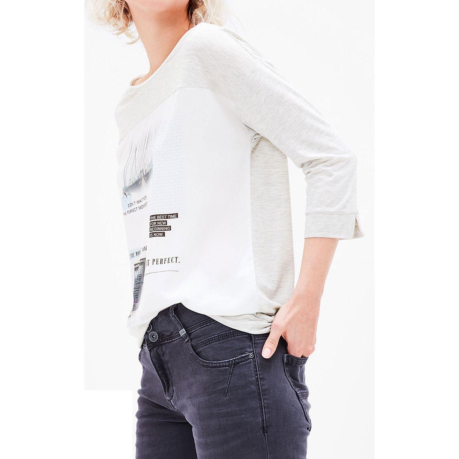تی شرت یقه گرد زنانه - اس.اولیور - طوسي روشن - 6