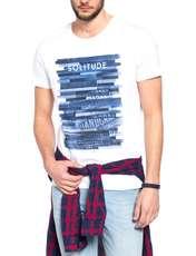 تی شرت نخی یقه گرد مردانه - ال سی وایکیکی - سفيد     - 4