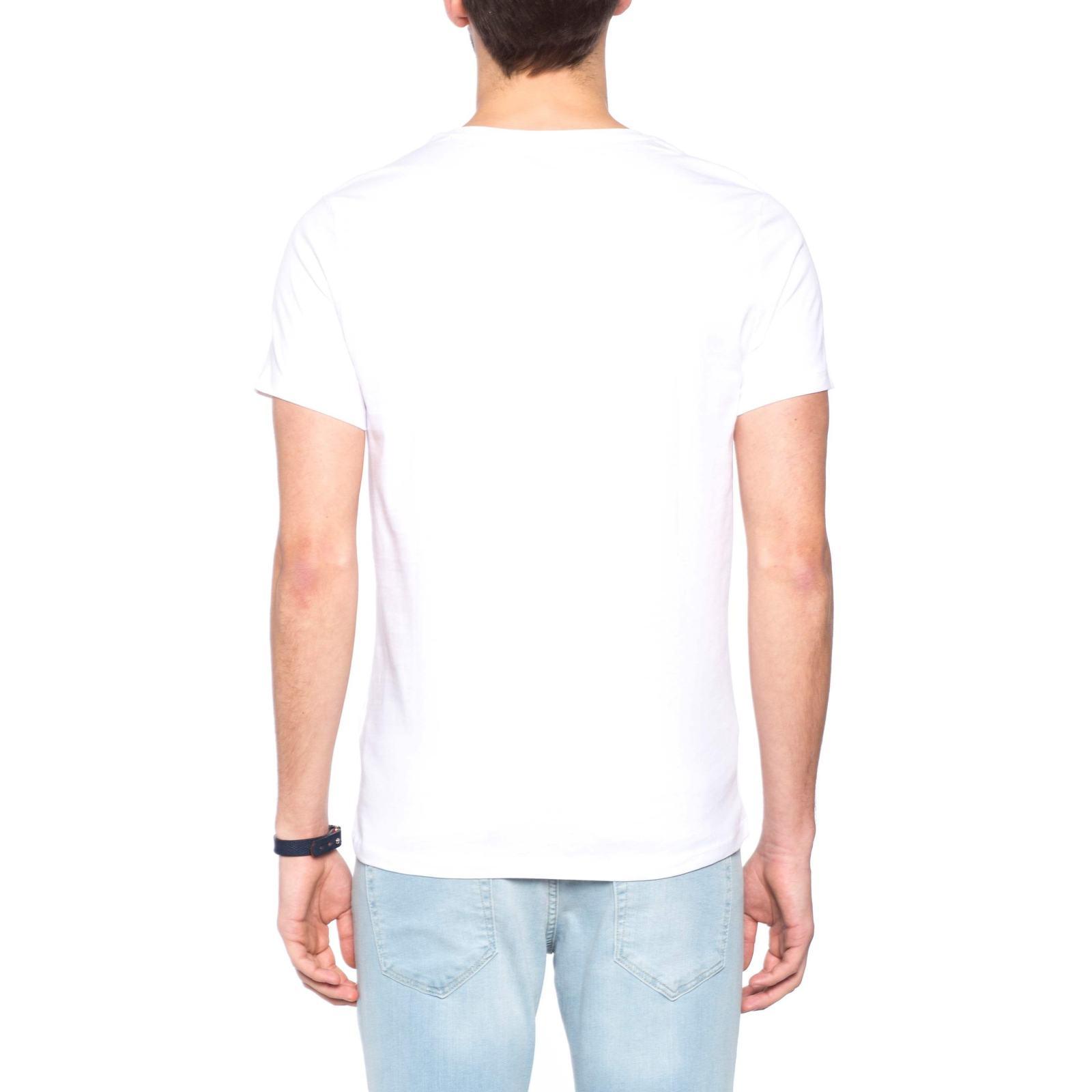 تی شرت نخی یقه گرد مردانه - ال سی وایکیکی - سفيد     - 5
