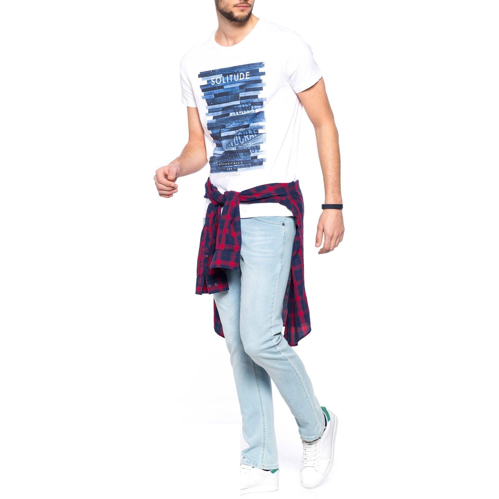 تی شرت نخی یقه گرد مردانه - ال سی وایکیکی - سفيد     - 6