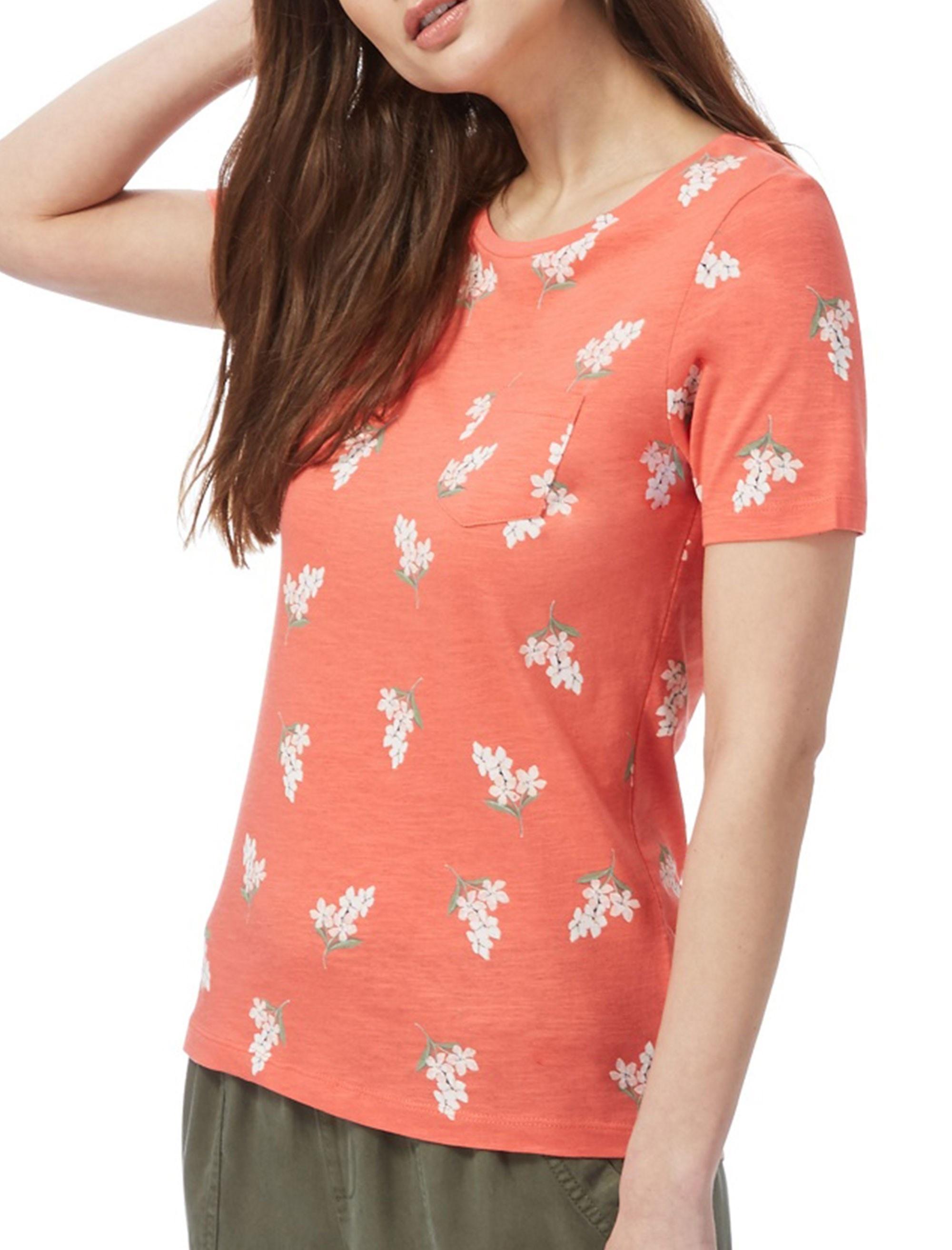 تی شرت نخی یقه گرد زنانه - کالکشن - نارنجي - 1