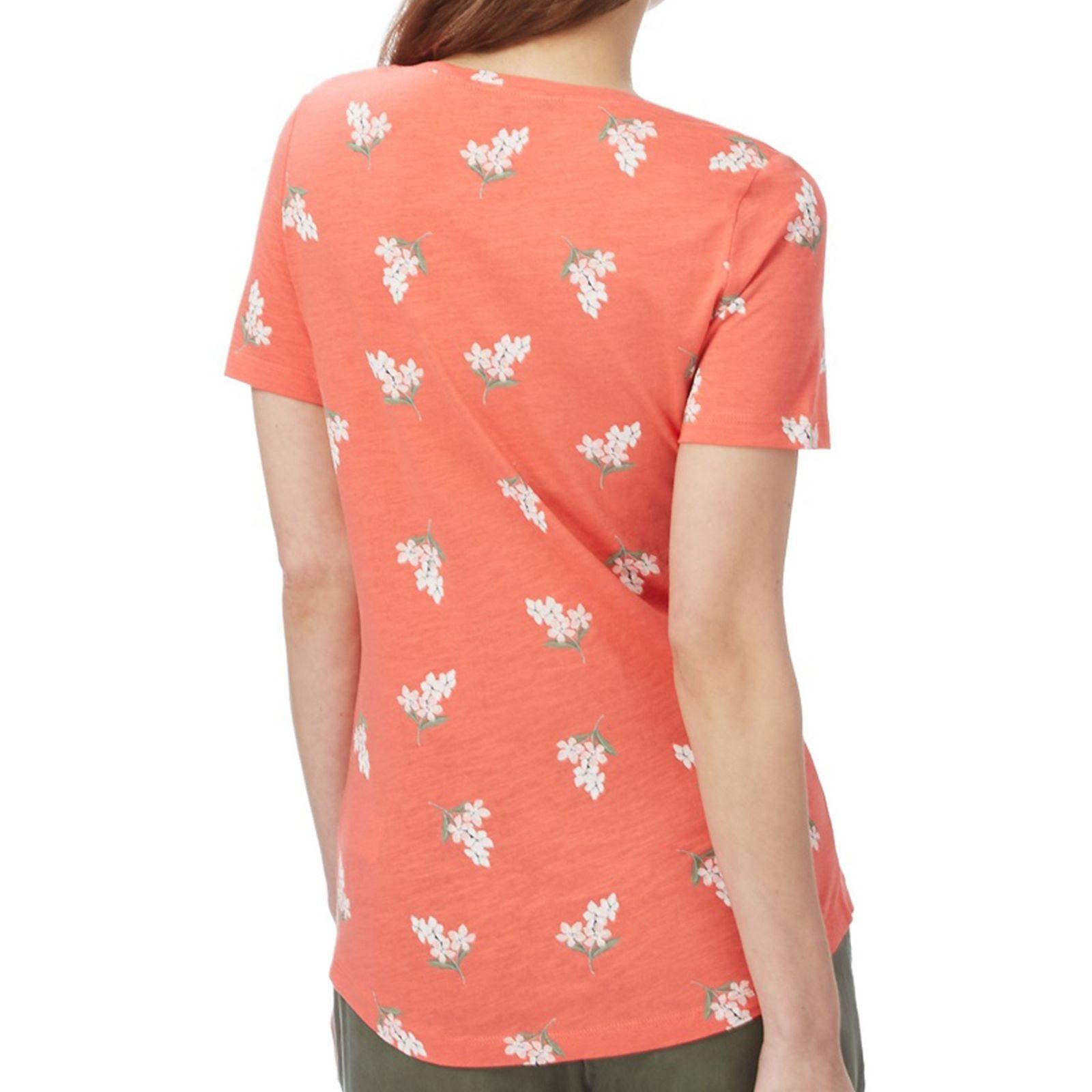 تی شرت نخی یقه گرد زنانه - کالکشن - نارنجي - 2