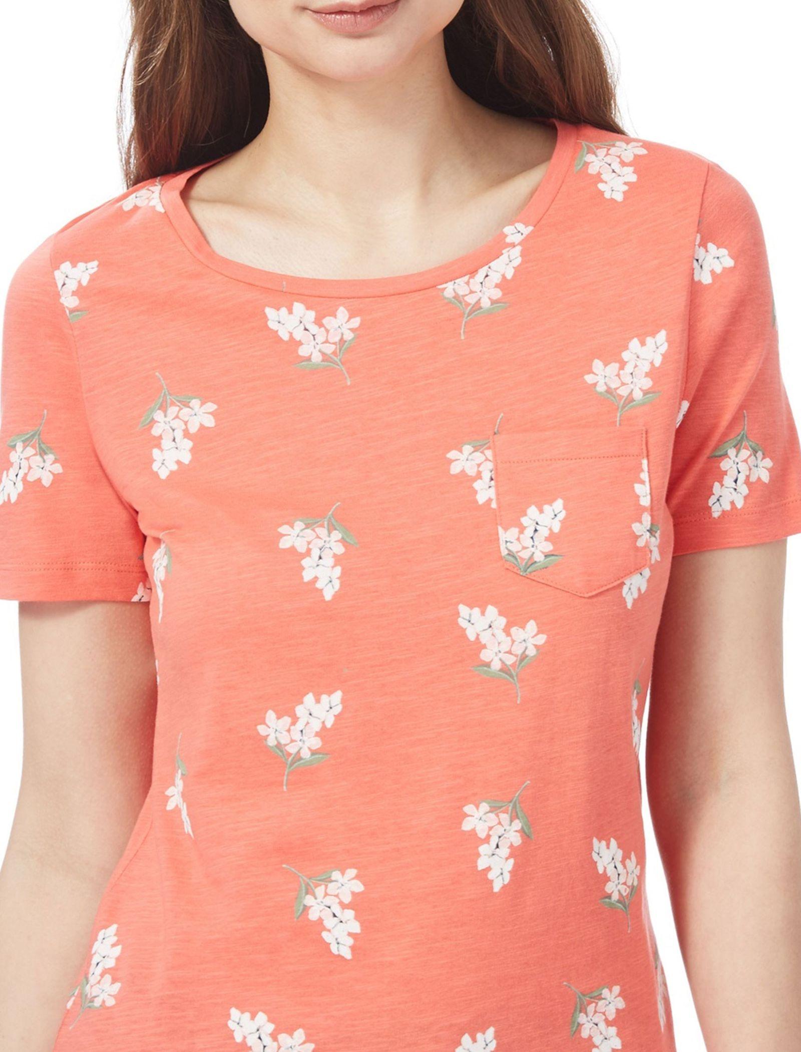 تی شرت نخی یقه گرد زنانه - کالکشن - نارنجي - 3