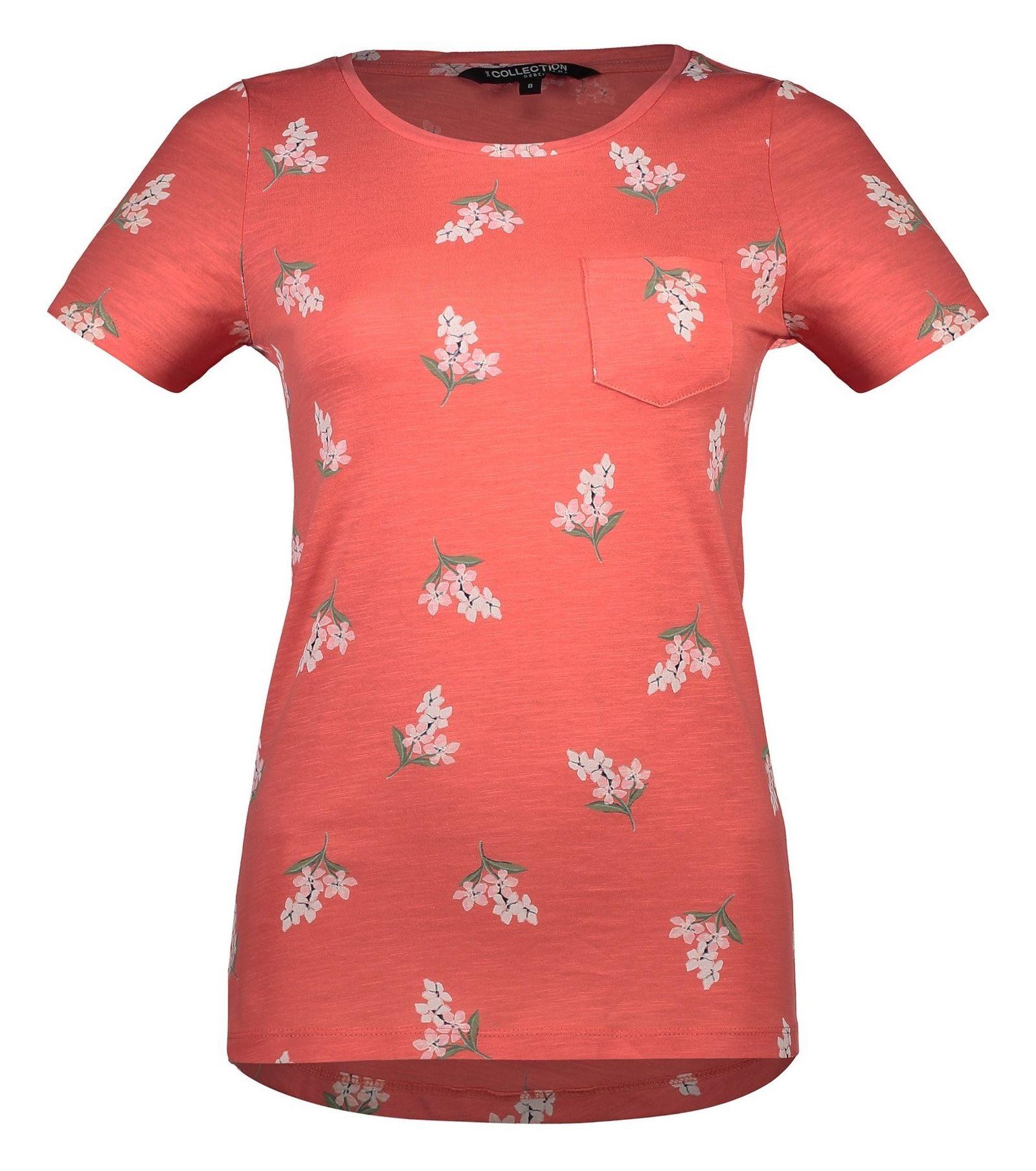 تی شرت نخی یقه گرد زنانه - کالکشن - نارنجي - 4