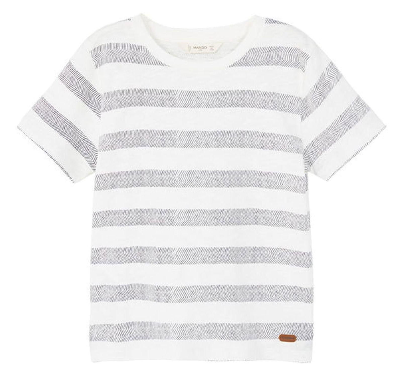 تی شرت نخی آستین کوتاه پسرانه - مانگو - سفيد و طوسي - 1