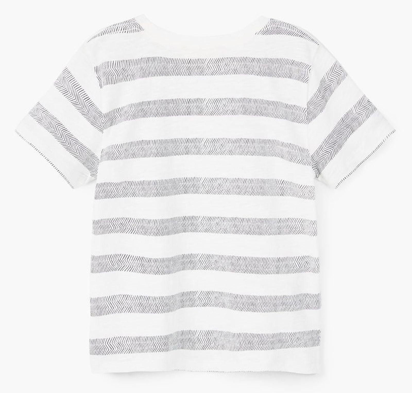 تی شرت نخی آستین کوتاه پسرانه - مانگو - سفيد و طوسي - 2