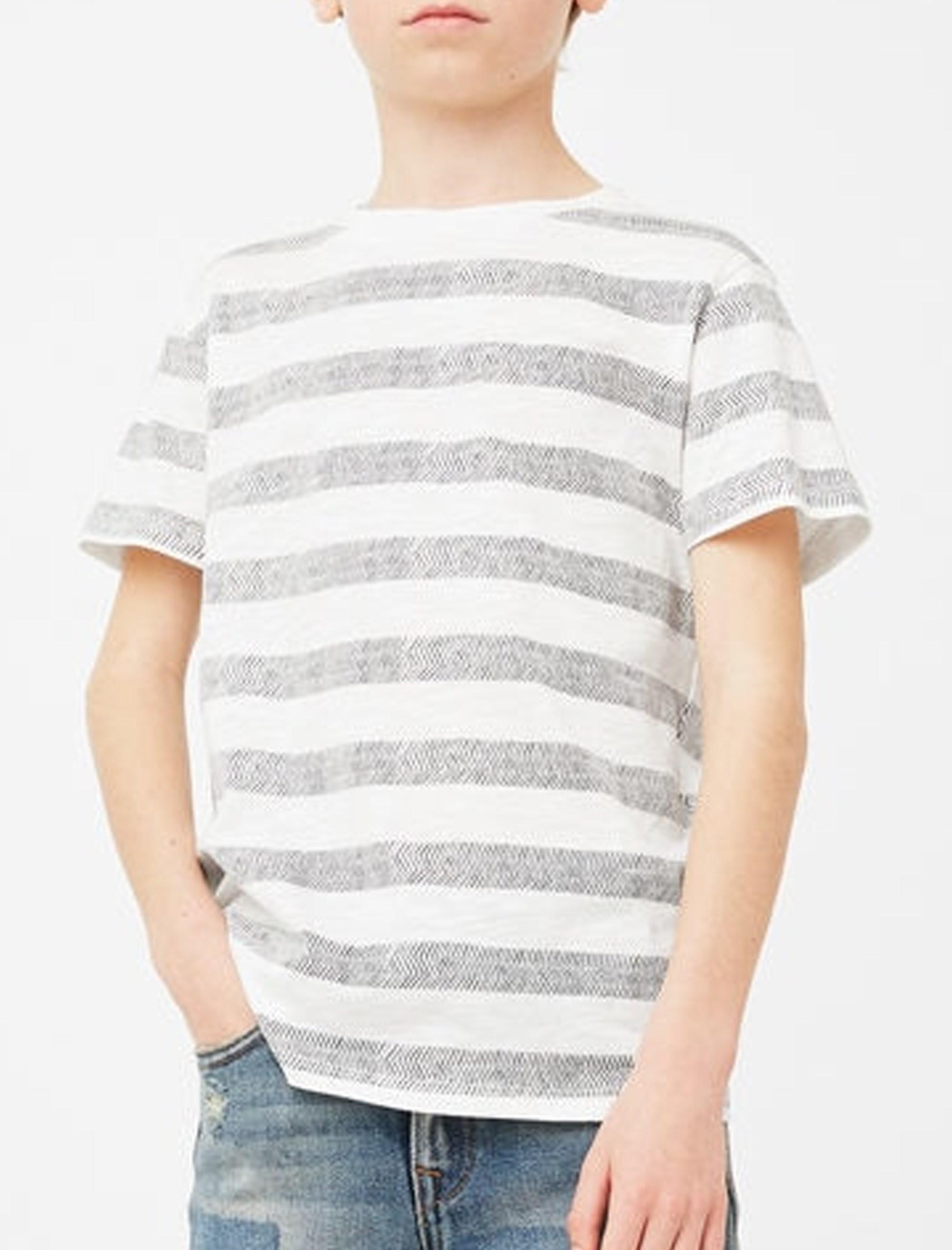 تی شرت نخی آستین کوتاه پسرانه - مانگو - سفيد و طوسي - 3
