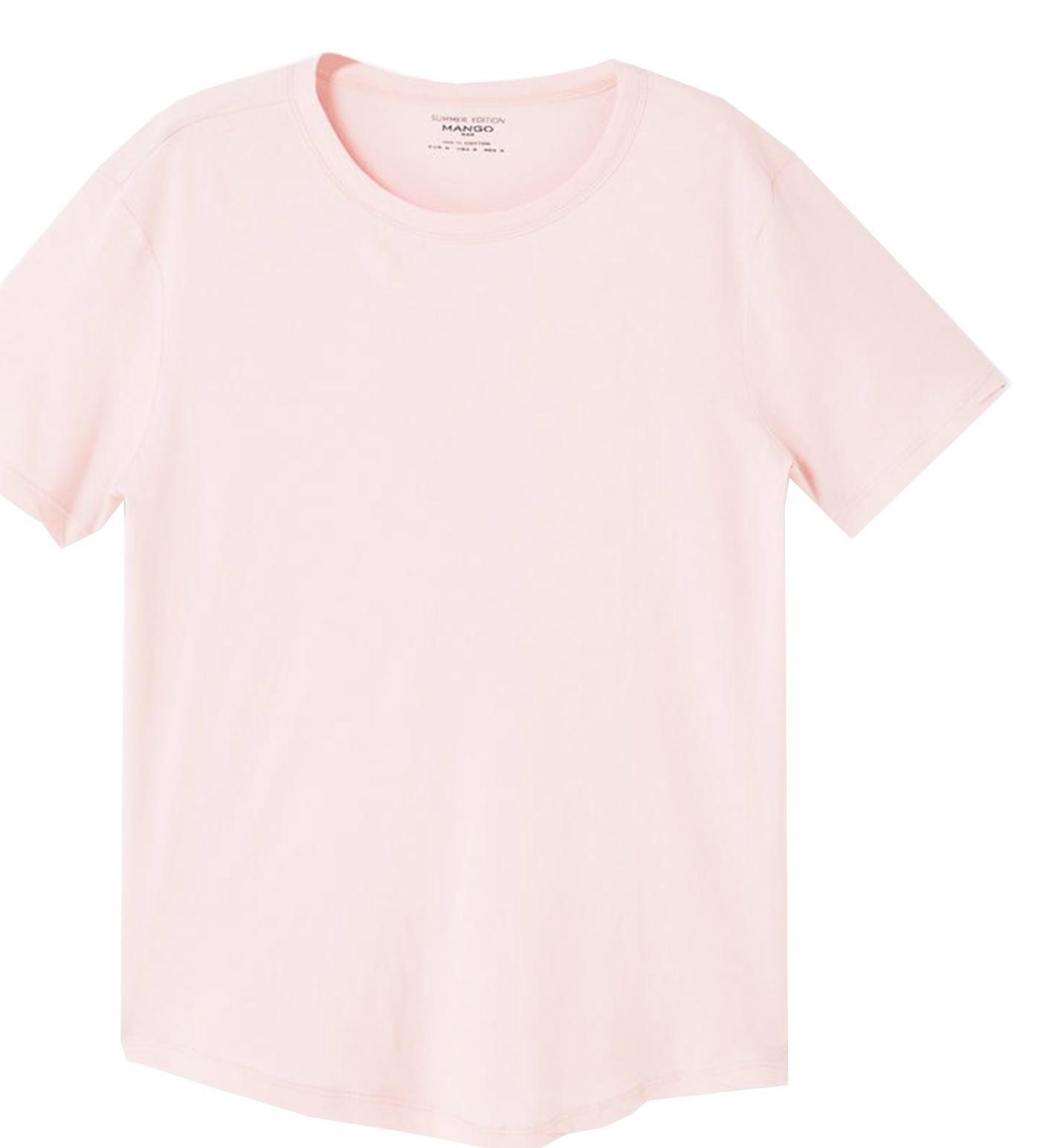 تی شرت نخی یقه گرد مردانه - مانگو - صورتي - 1