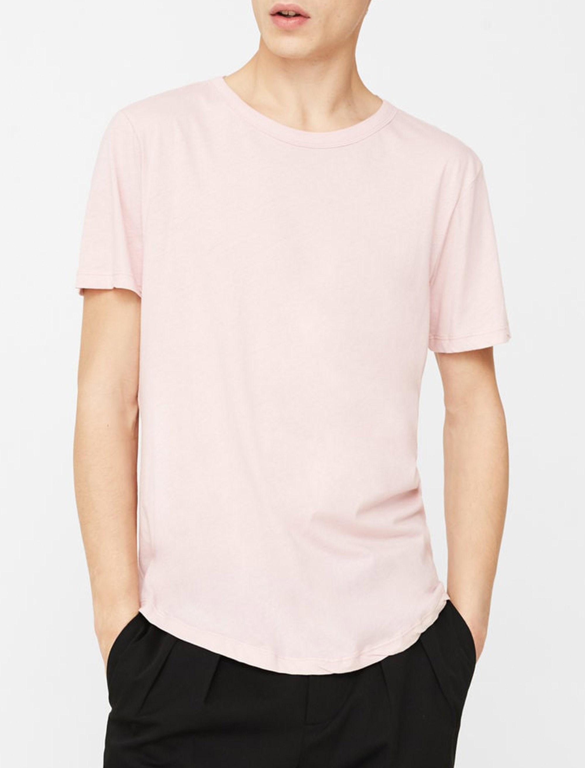 تی شرت نخی یقه گرد مردانه - مانگو - صورتي - 2