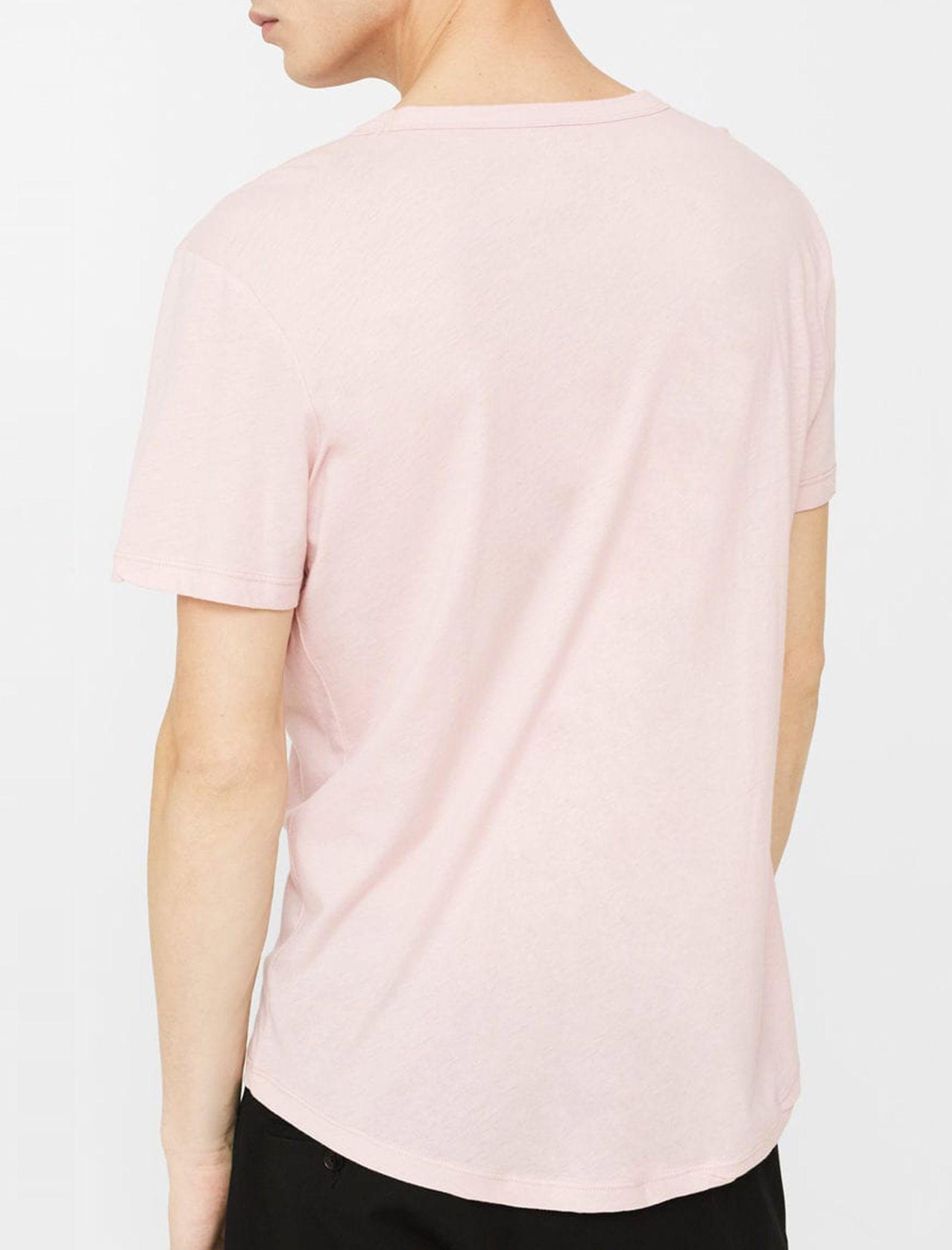 تی شرت نخی یقه گرد مردانه - مانگو - صورتي - 3