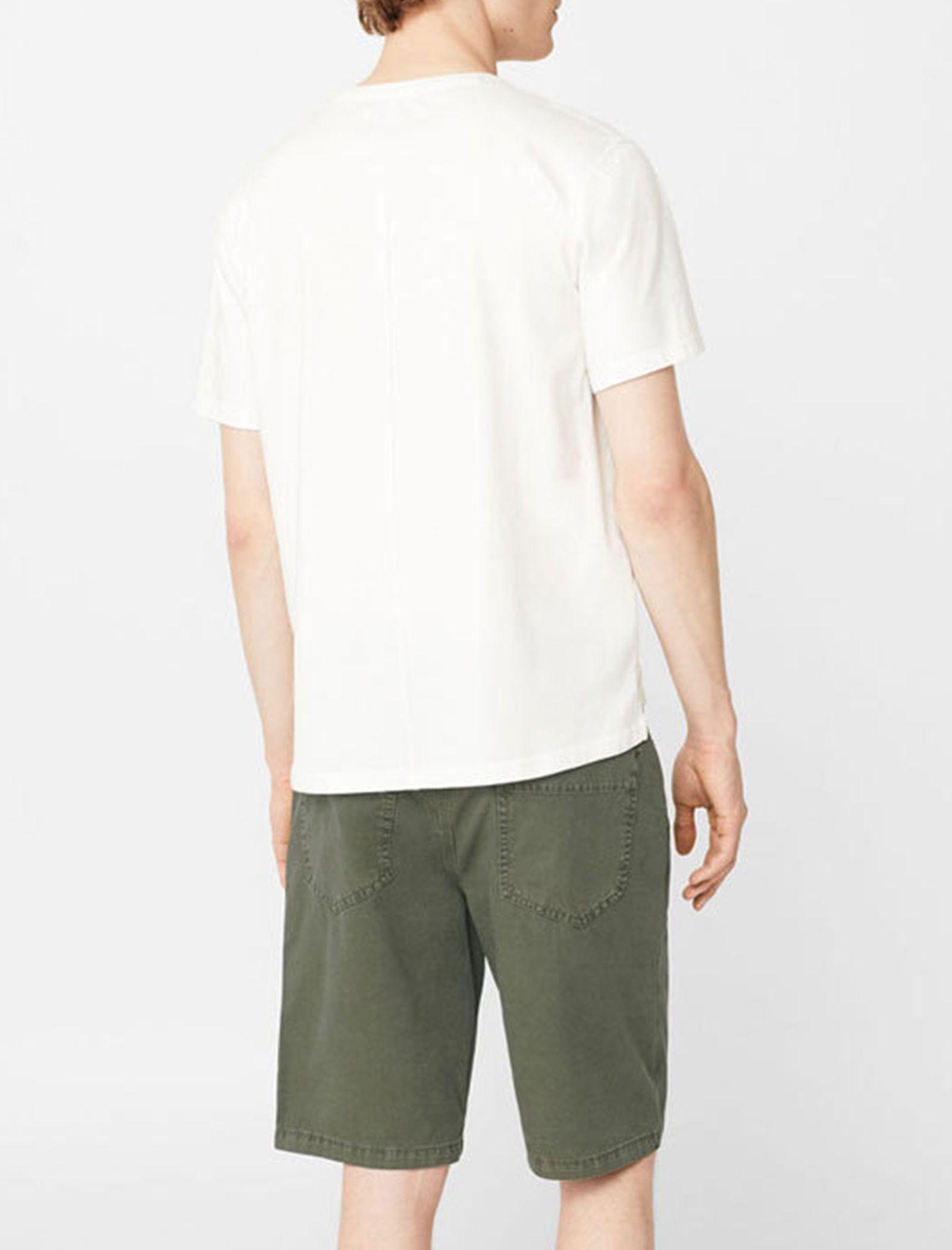 شلوارک کتان راسته مردانه - مانگو - سبز ارتشي - 3